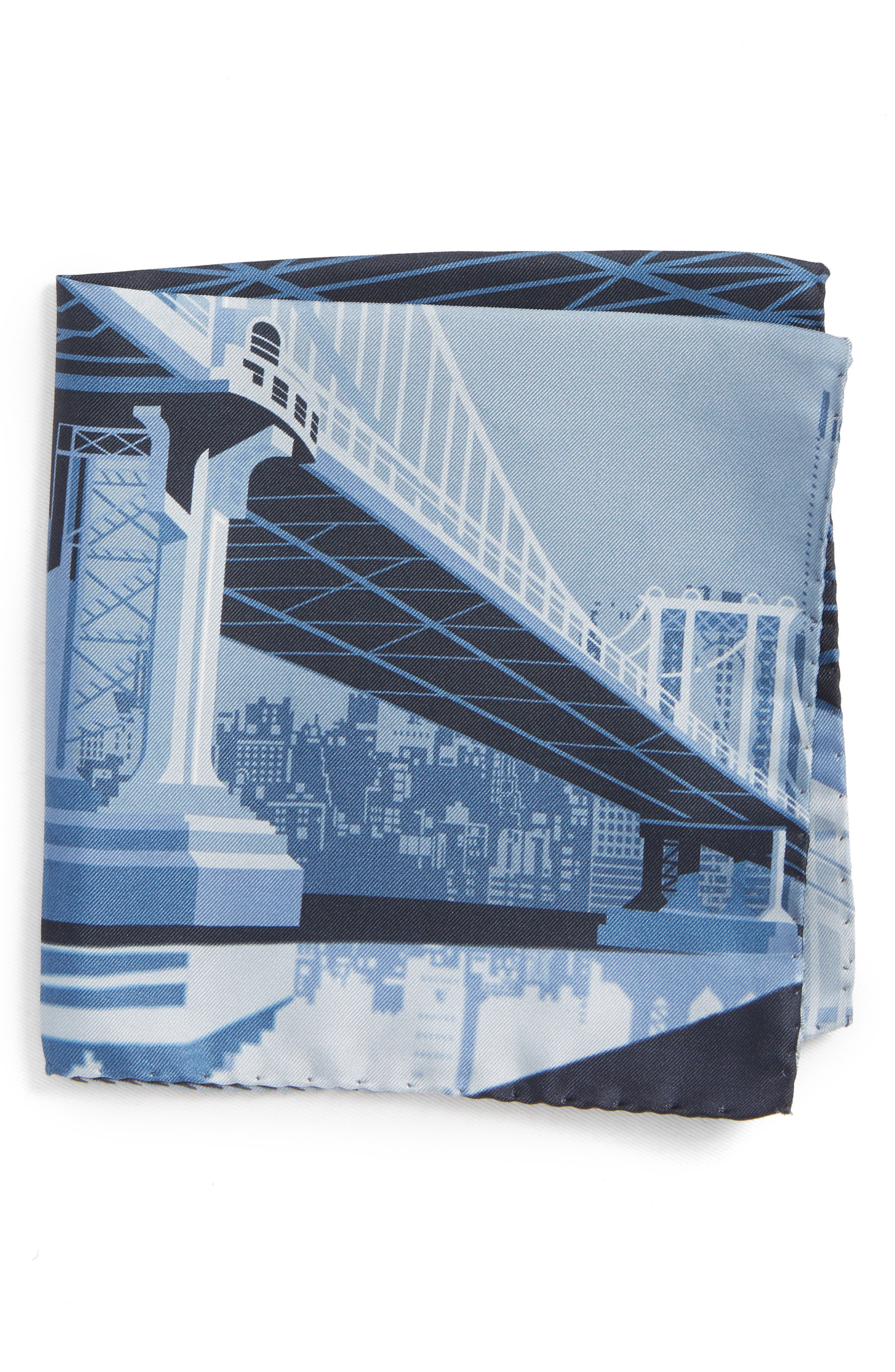 Manhattan Bridge Silk Pocket Square,                         Main,                         color, GREY