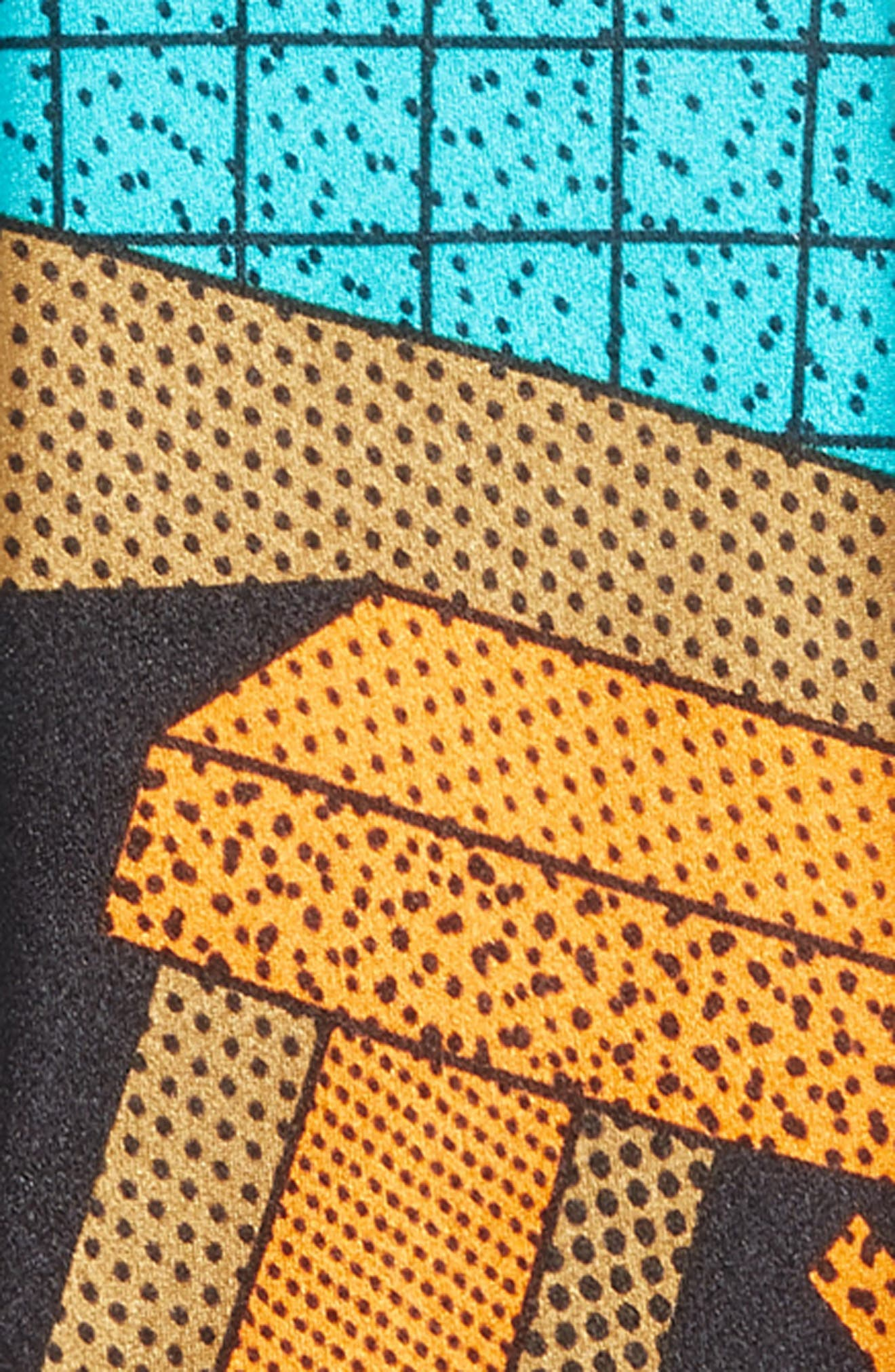 MEMPHIS Milano Teal/Orange Print Silk Tie,                             Alternate thumbnail 2, color,                             440