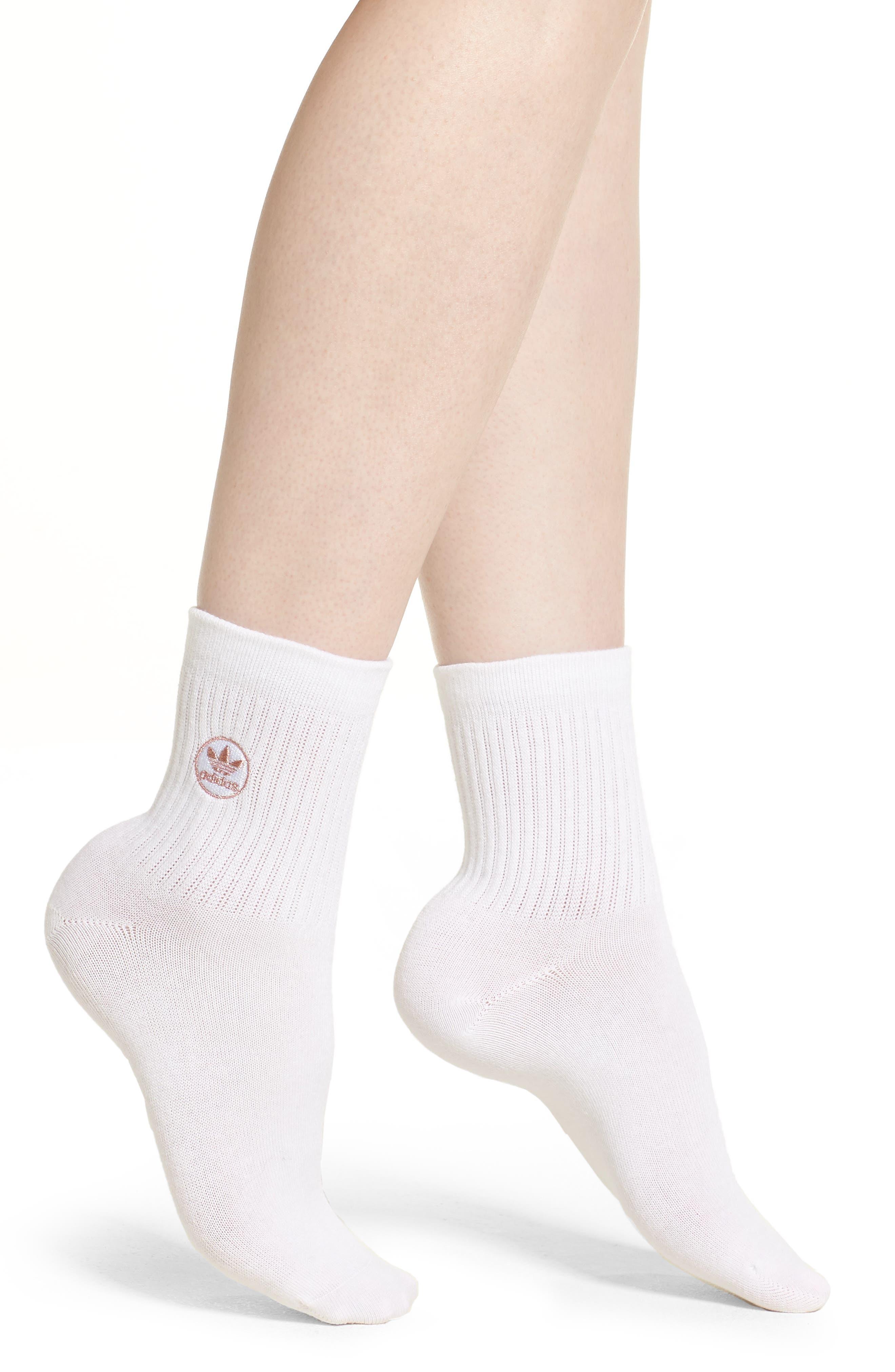 Quarter Crew Socks,                             Main thumbnail 1, color,                             WHITE/ ROSE GOLD