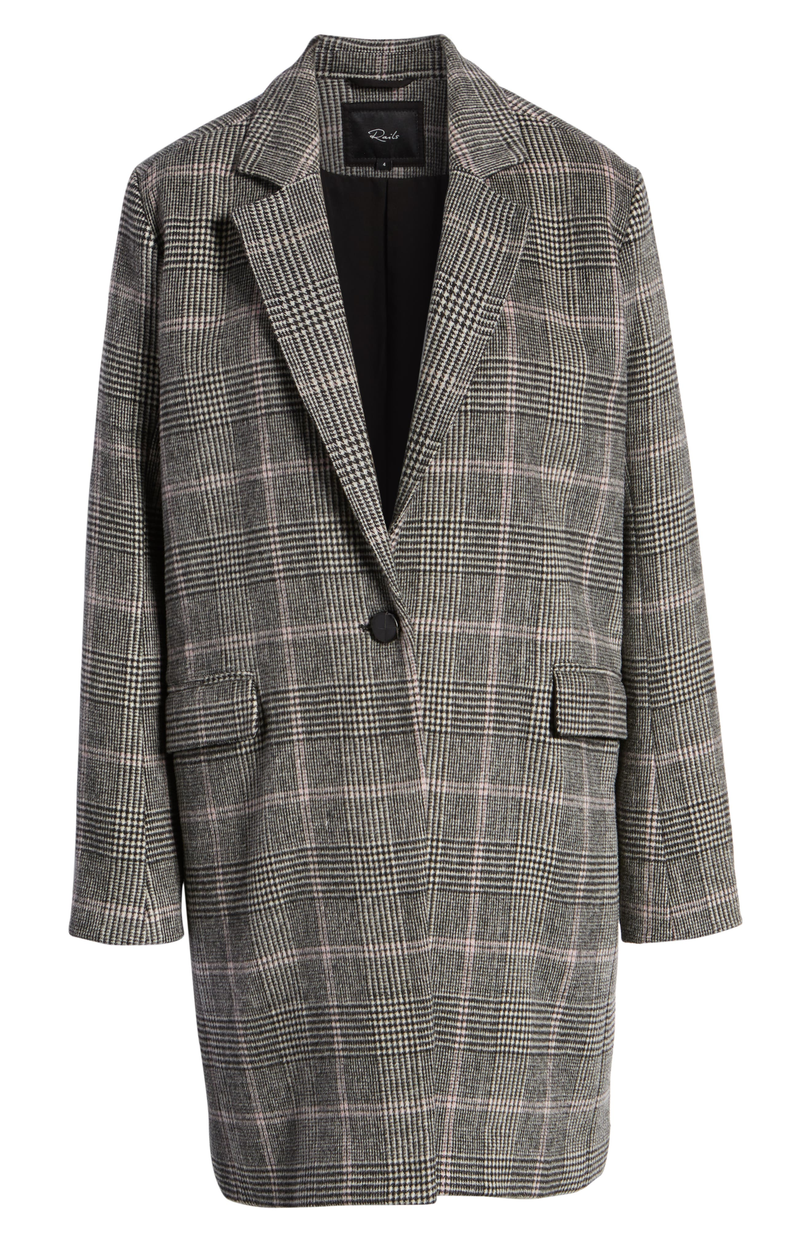 Anders Plaid Coat,                             Alternate thumbnail 7, color,                             CHARCOAL PINK PLAID