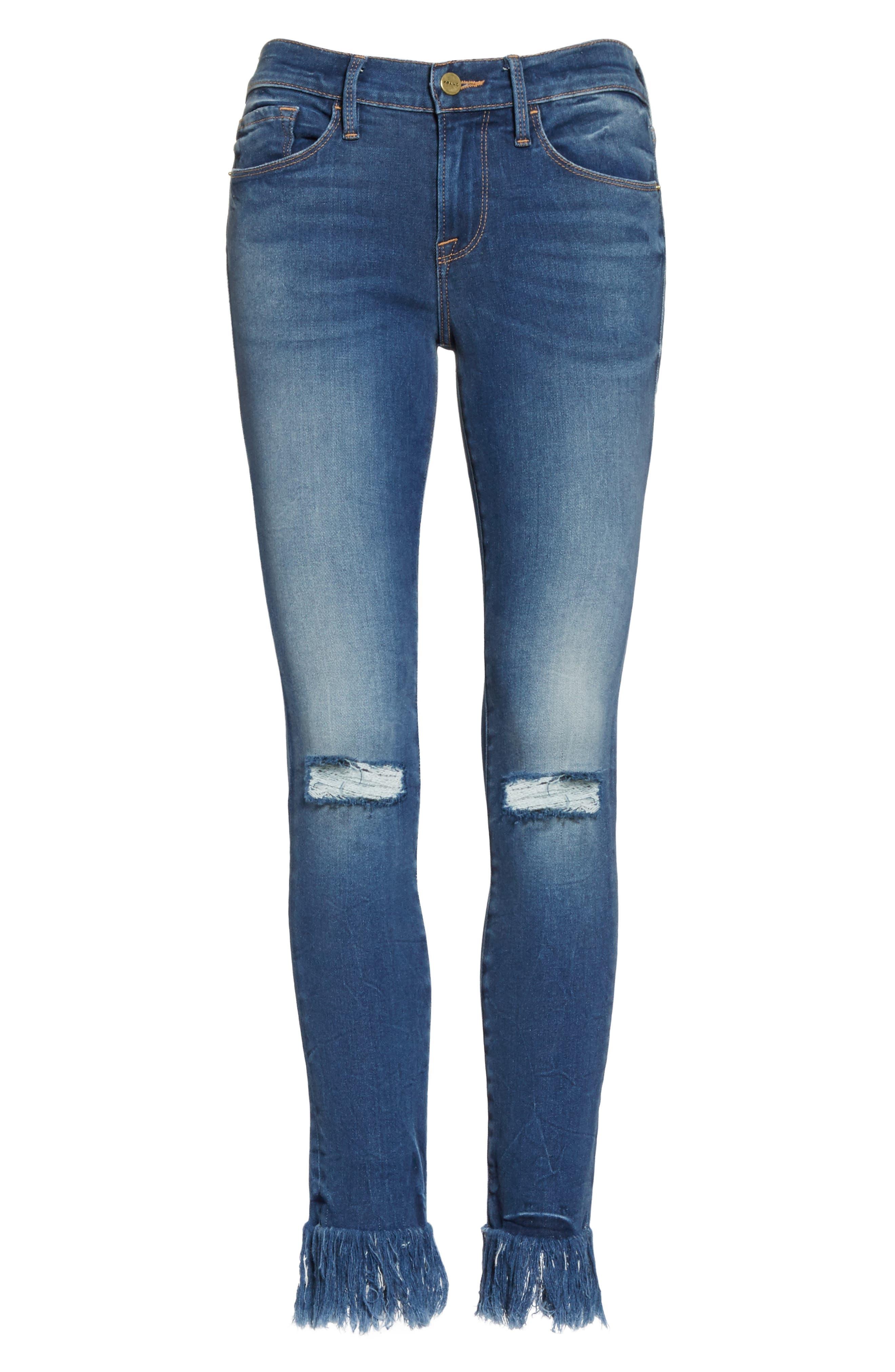 Le Skinny de Jeanne Shredded Raw Hem Jeans,                             Alternate thumbnail 7, color,                             401