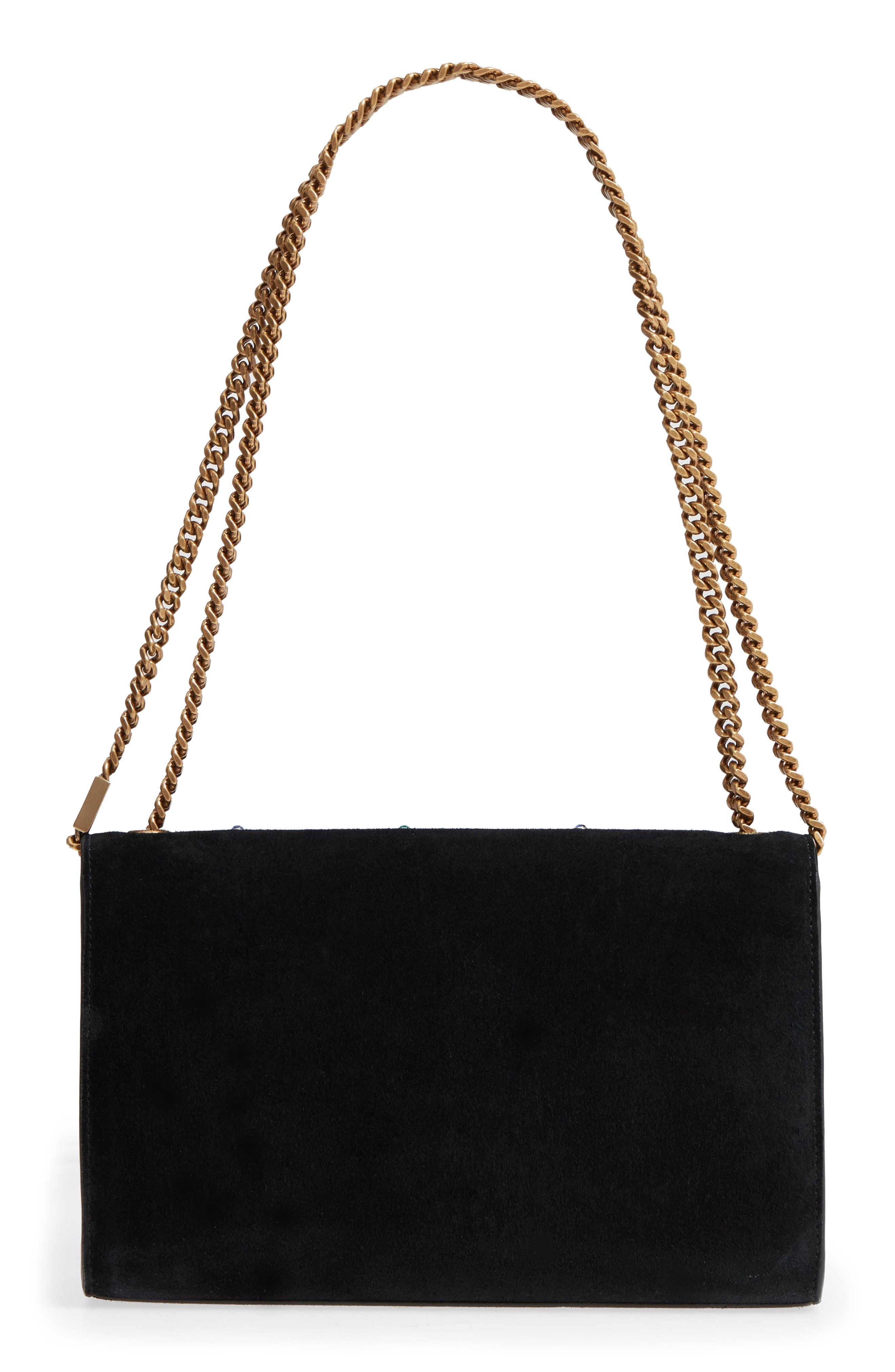 Medium Kate Embellished Suede Shoulder Bag,                             Alternate thumbnail 3, color,                             1077 MULTI