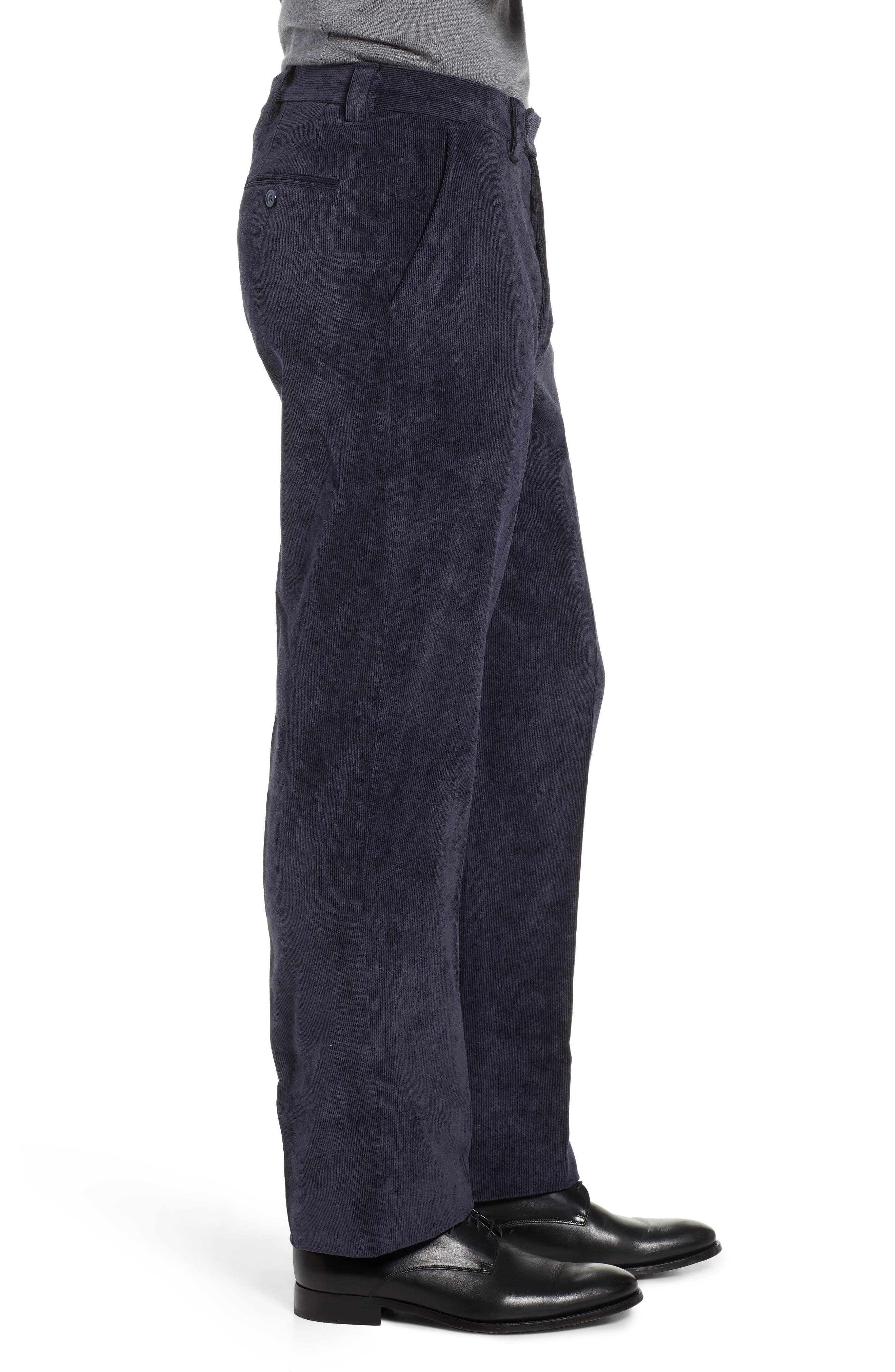 BERLE,                             Classic Fit Flat Front Corduroy Trousers,                             Alternate thumbnail 3, color,                             410