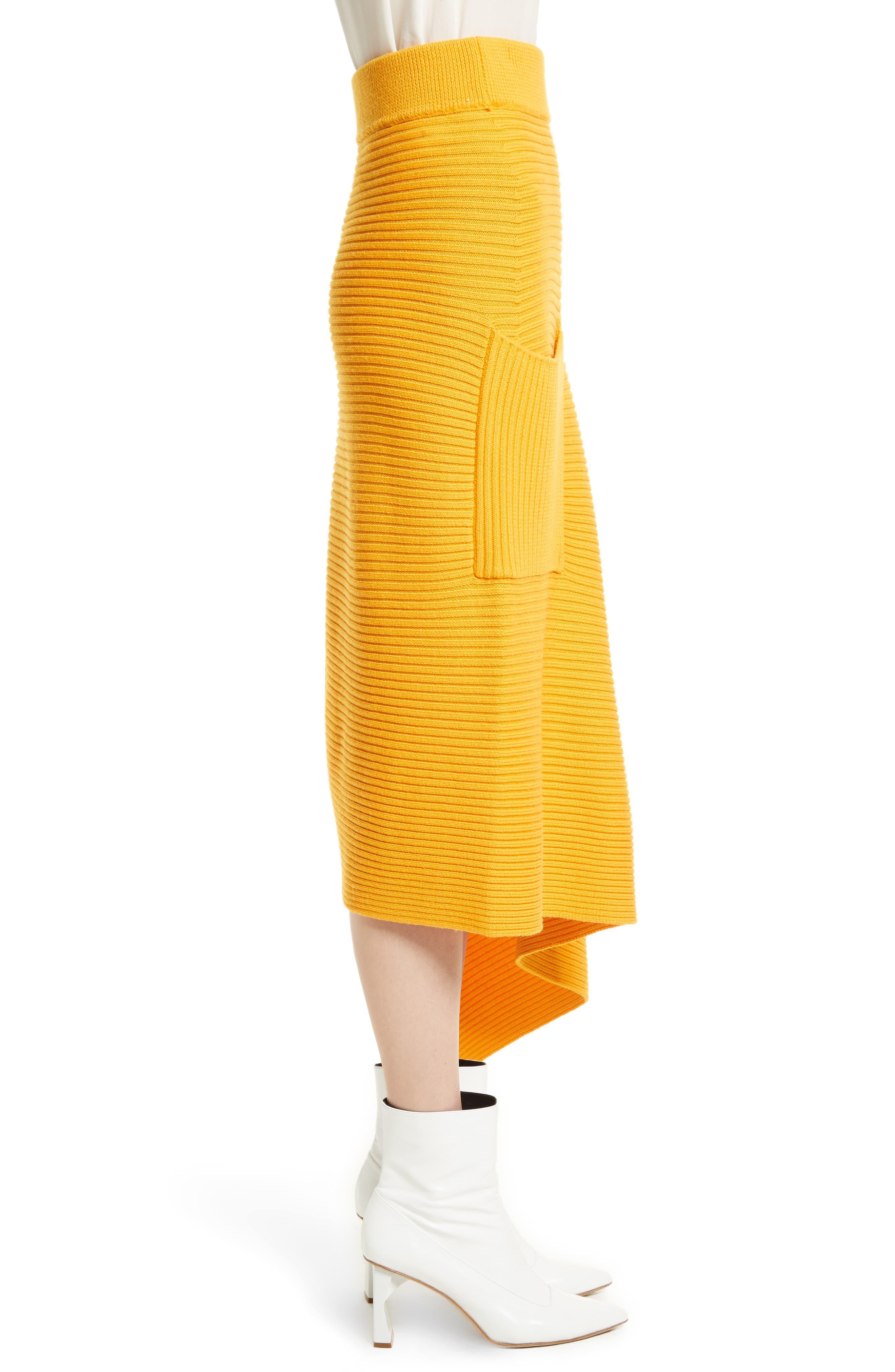 Asymmetrical Rib Merino Wool Skirt,                             Alternate thumbnail 6, color,