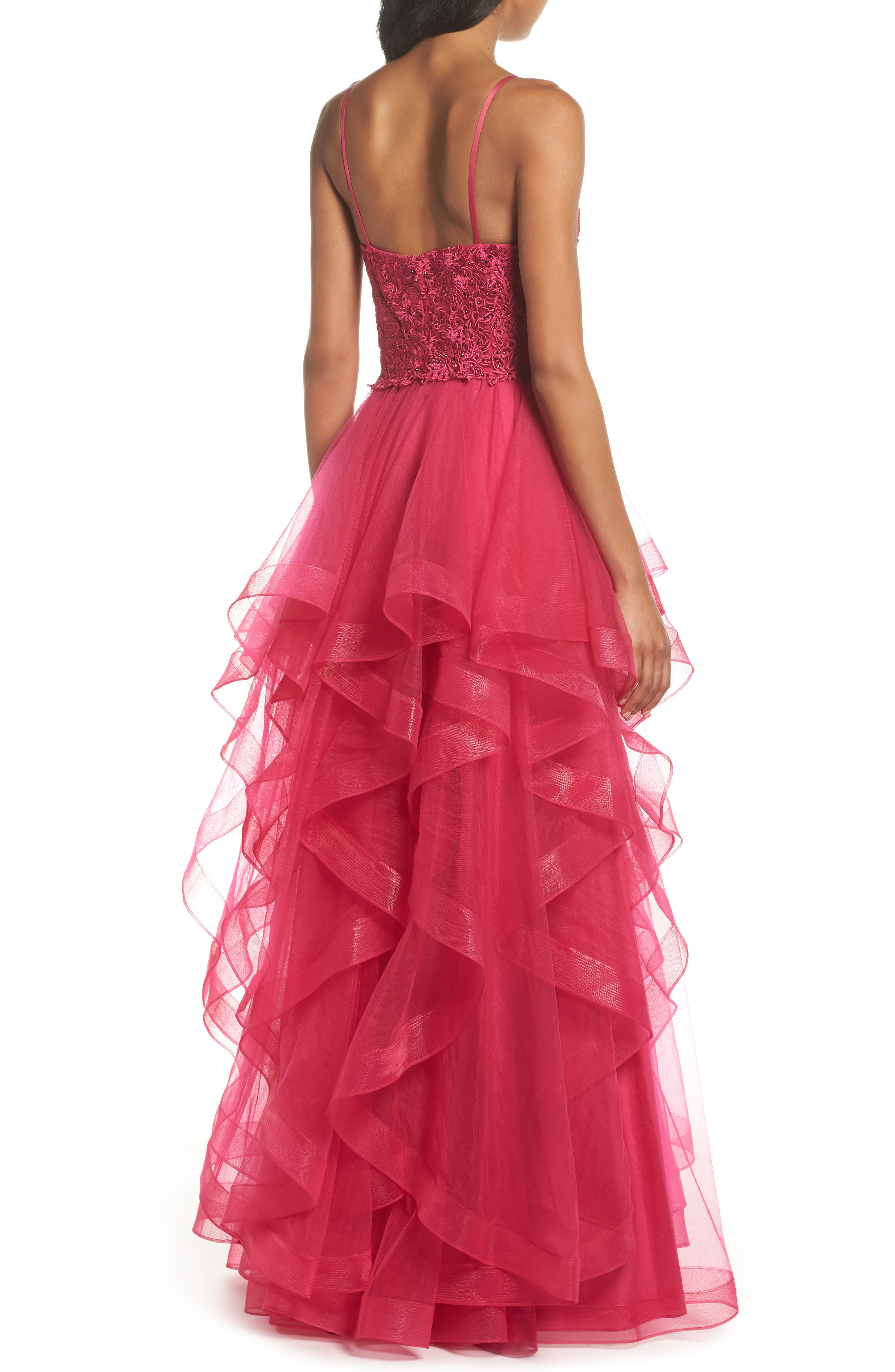 Lace & Tiered Tulle Ballgown,                             Alternate thumbnail 2, color,                             HOT FUCHSIA