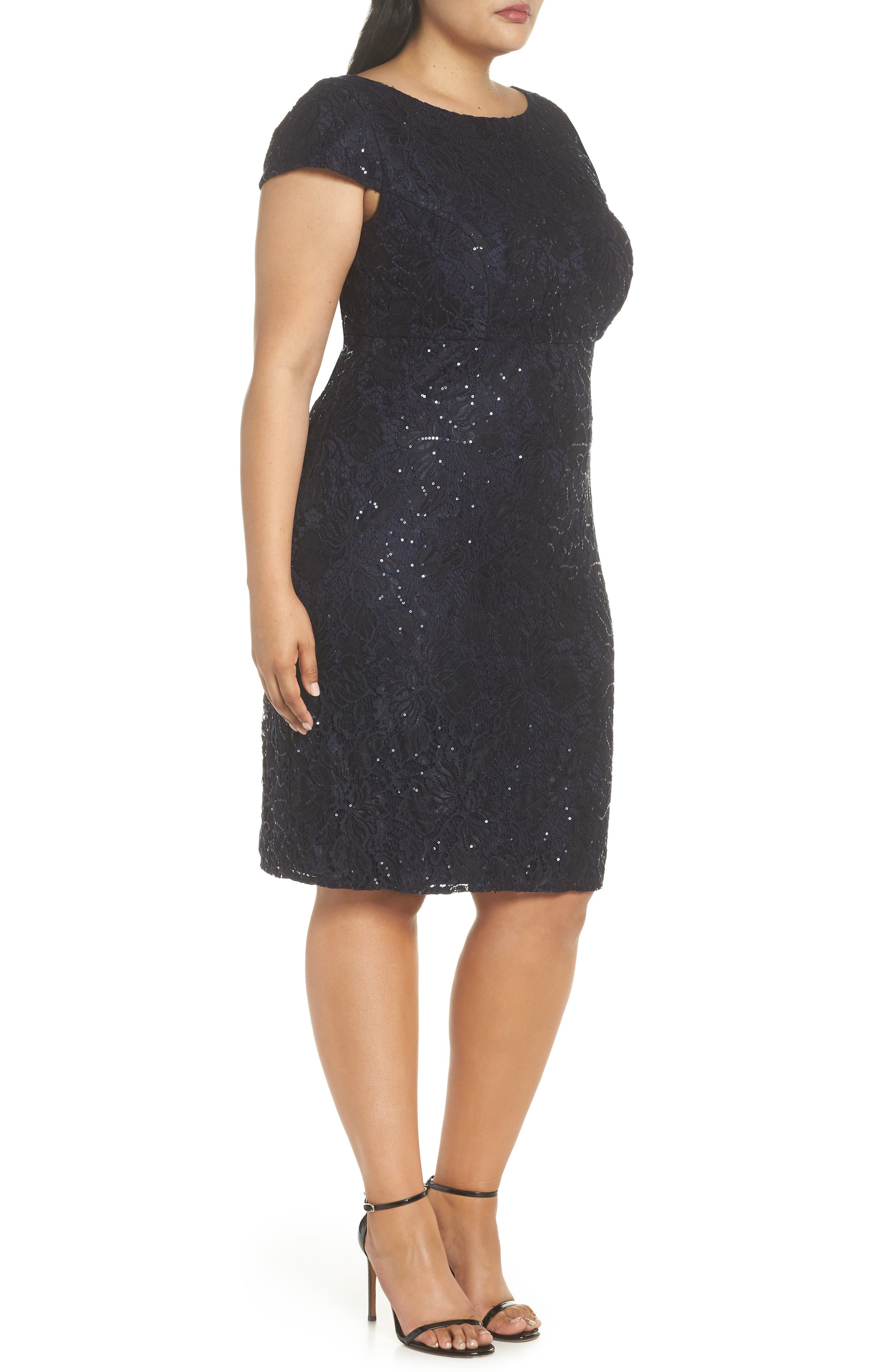 Lace Party Dress,                             Alternate thumbnail 3, color,                             NAVY
