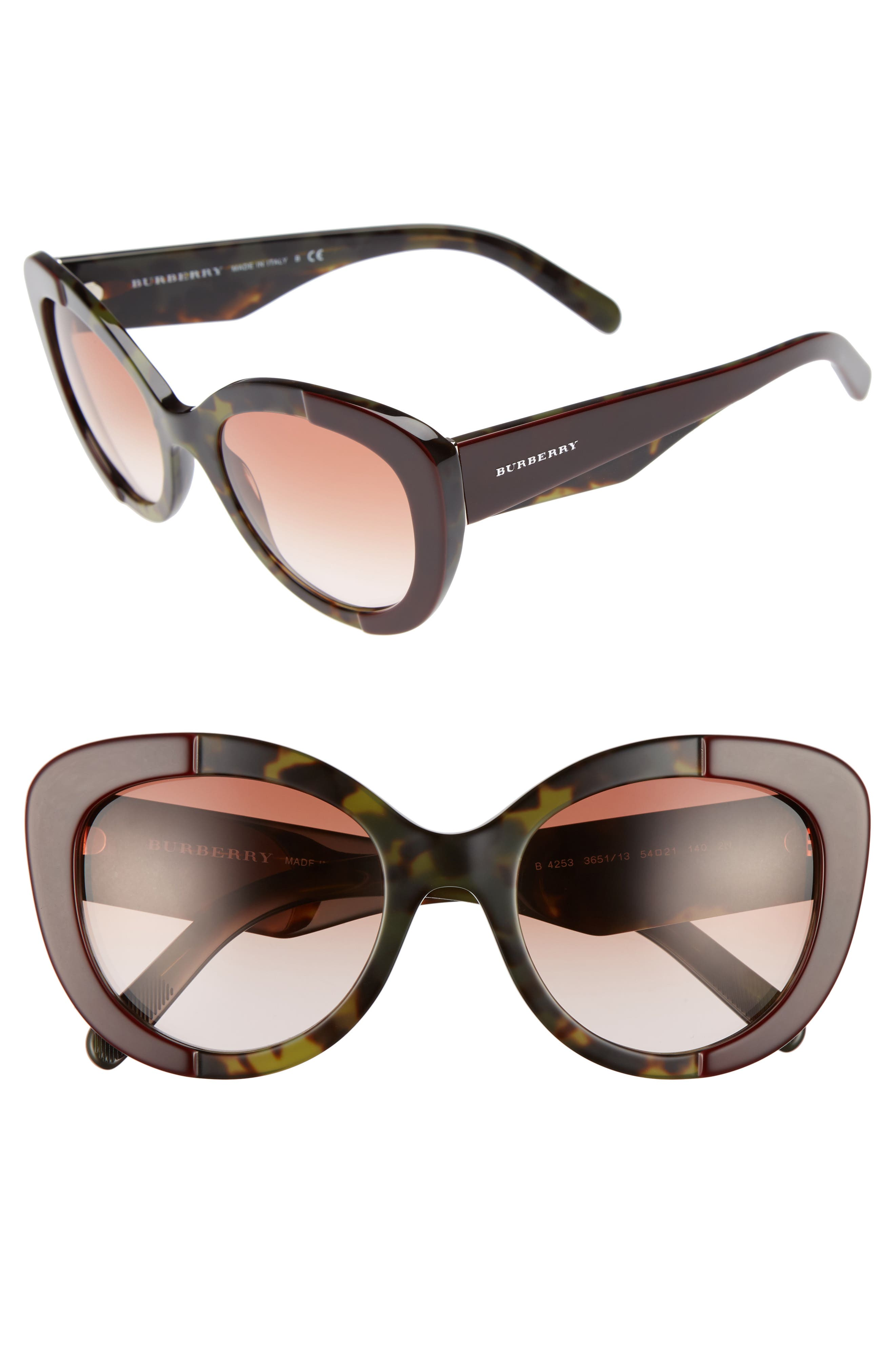54mm Gradient Butterfly Sunglasses,                         Main,                         color, 600