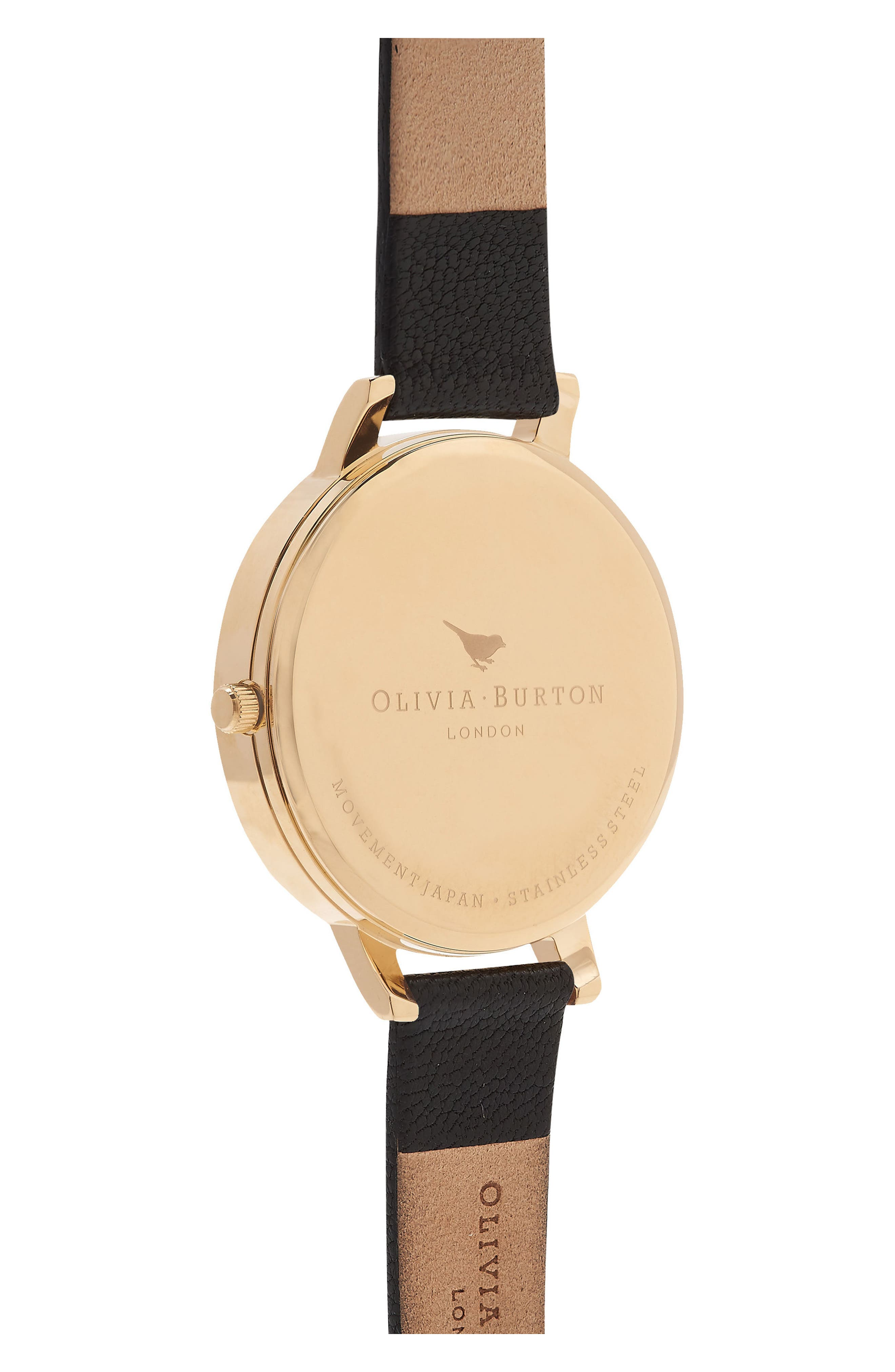 Case Cuff Leather Strap Watch, 38mm,                             Alternate thumbnail 2, color,                             BLACK/ GOLD