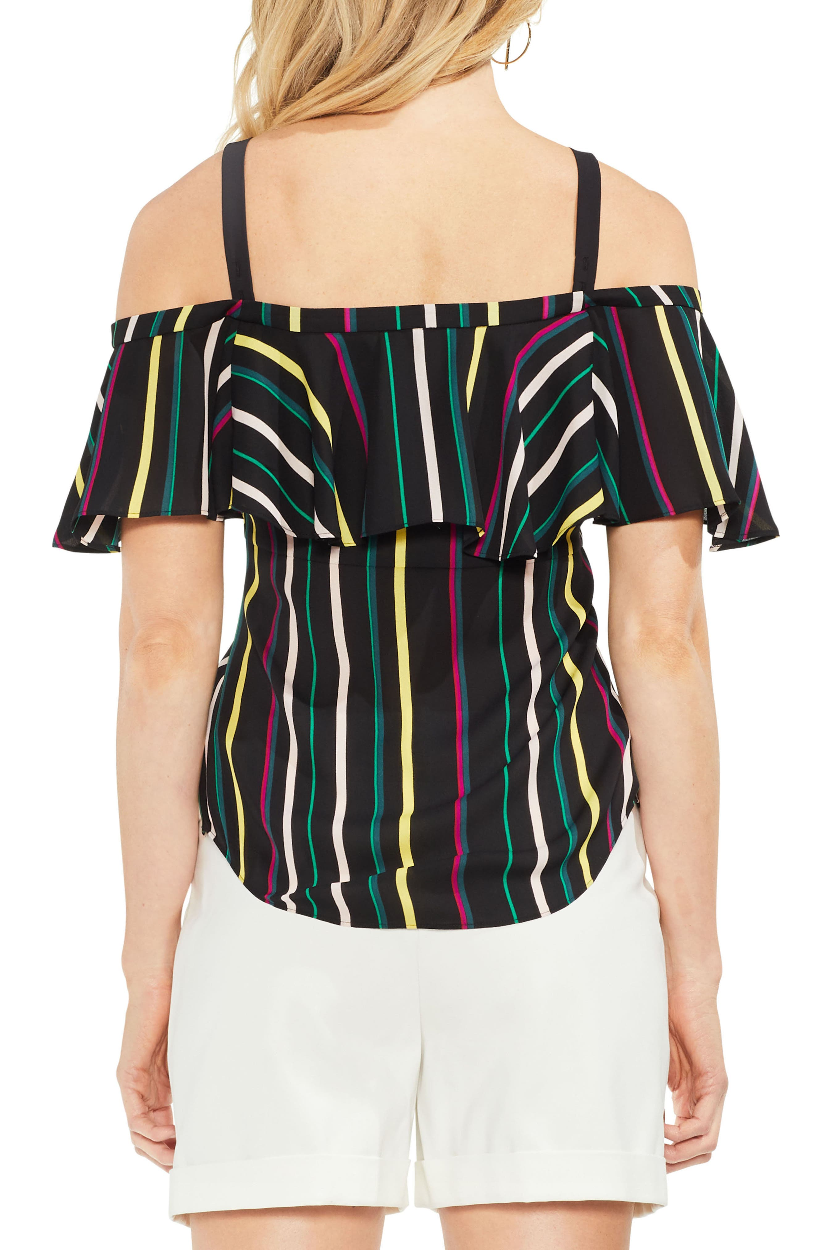 Stripe Cold Shoulder Ruffle Top,                             Alternate thumbnail 2, color,                             001