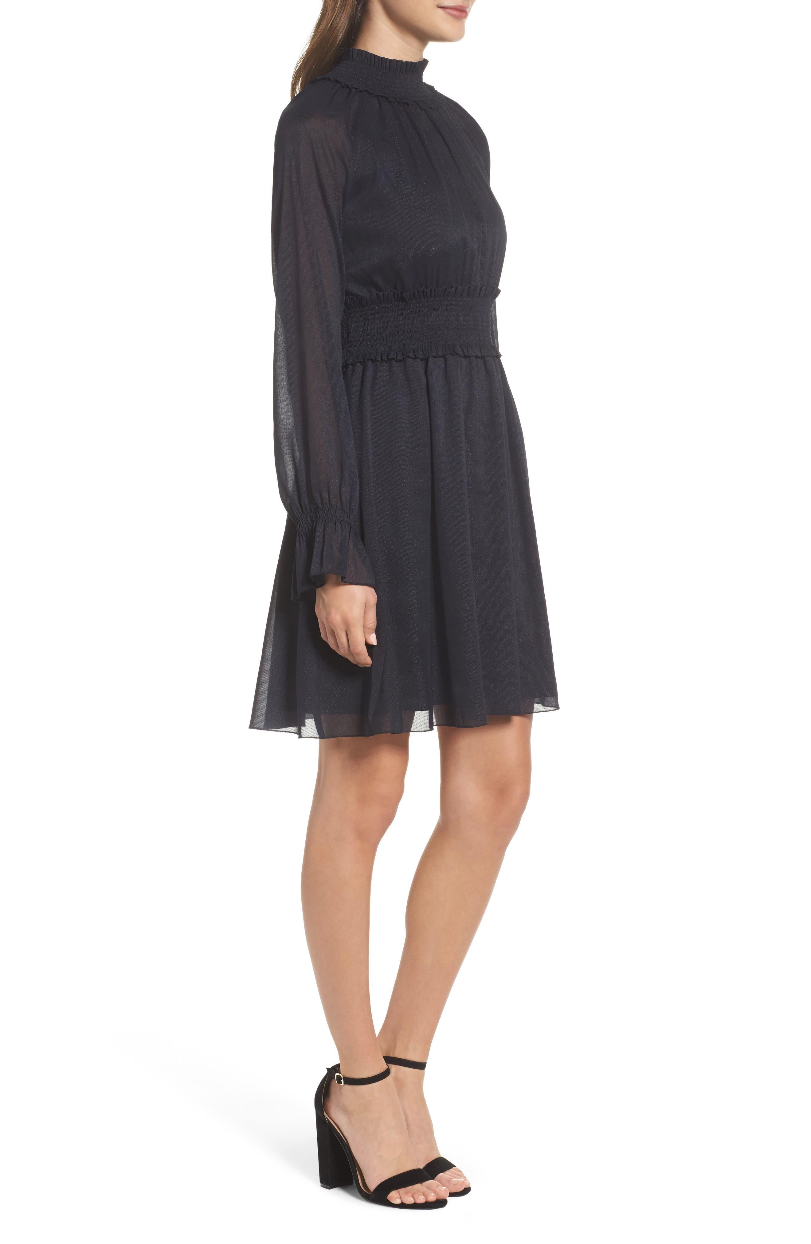 Smocked Long Sleeve Dress,                             Alternate thumbnail 3, color,                             410