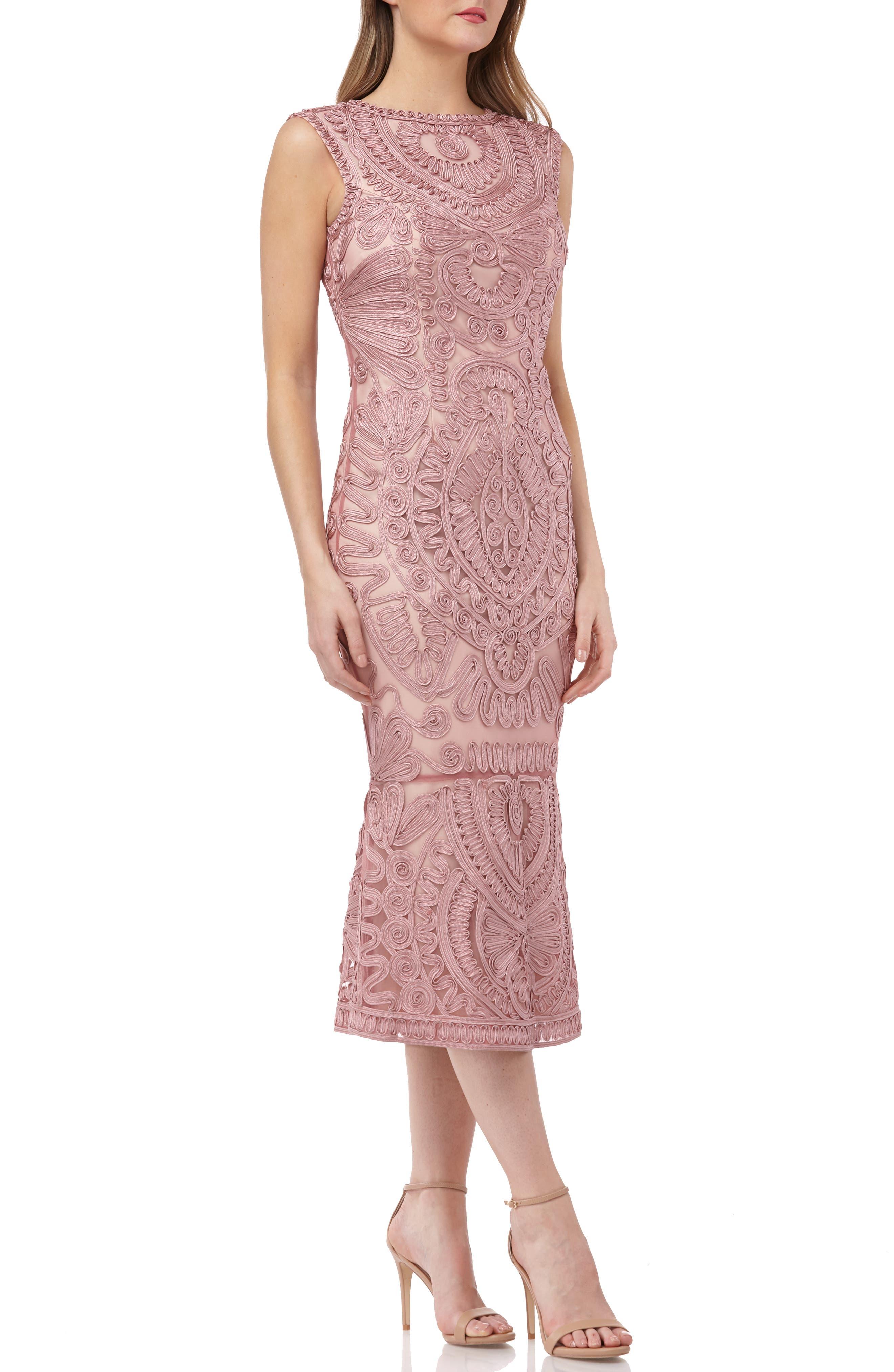 women's js collections soutache mesh dress, size 12 - pink