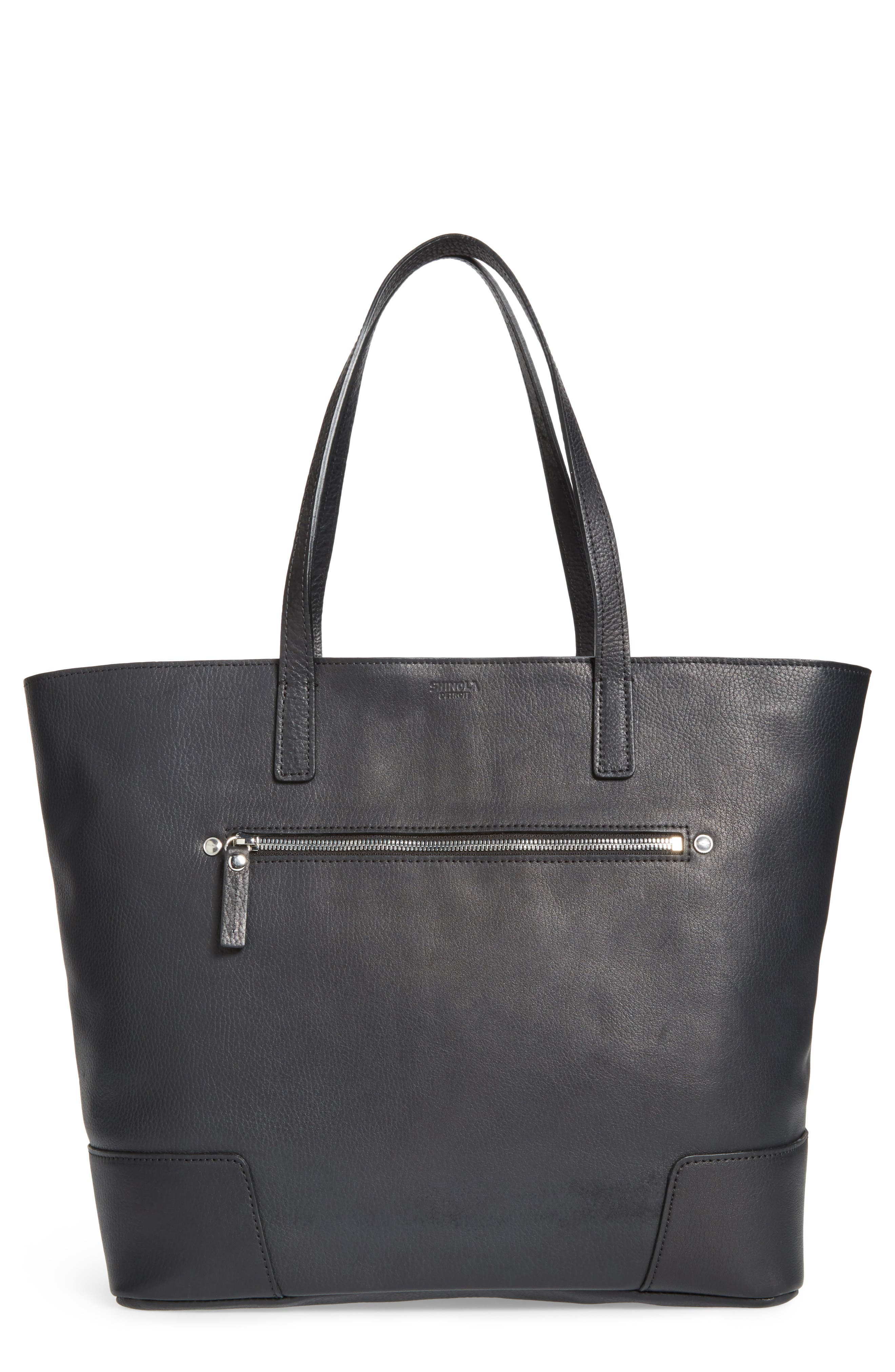 Leather Tote,                         Main,                         color, BLACK