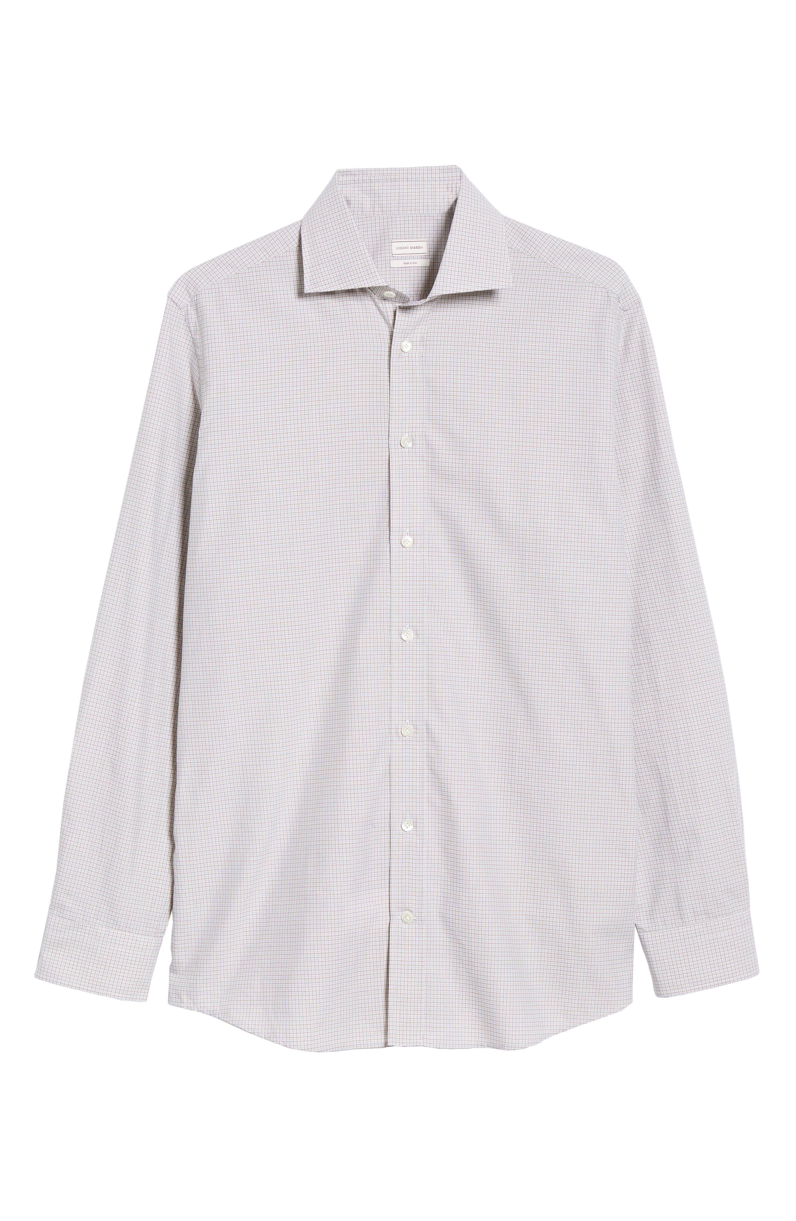 Slim Fit Check Dress Shirt,                             Alternate thumbnail 5, color,                             TAN