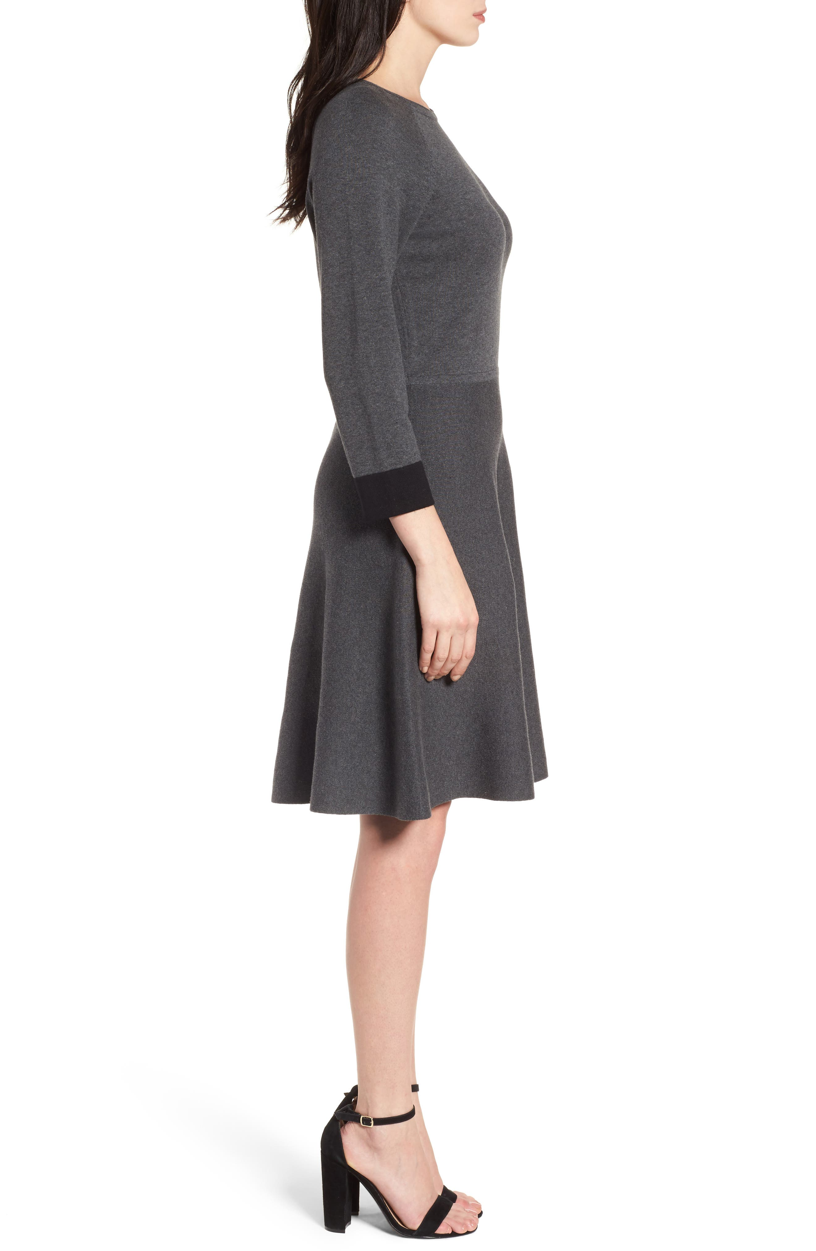 Fit & Flare Sweater Dress,                             Alternate thumbnail 3, color,                             023
