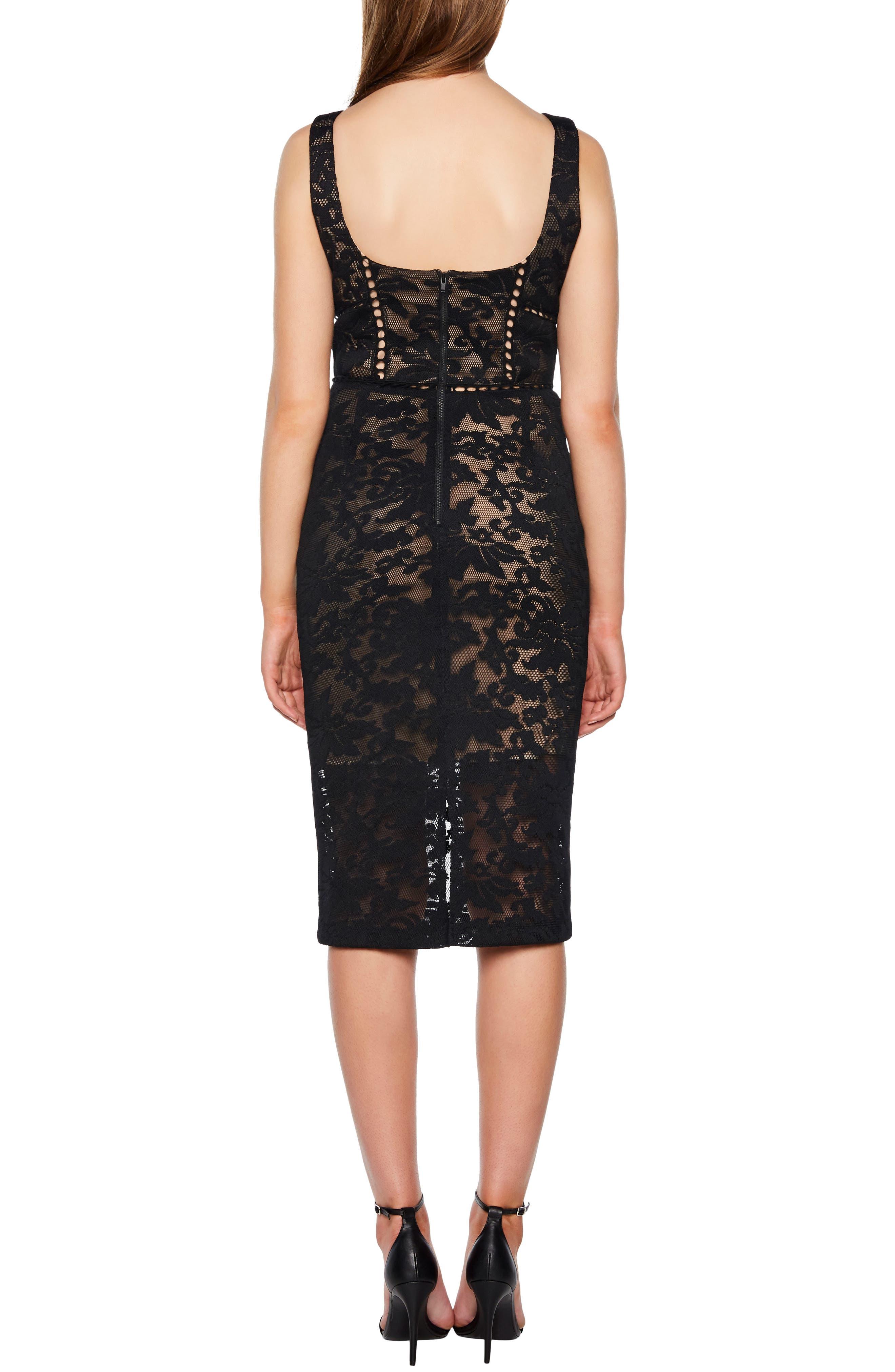 Stella Lace Sheath Dress,                             Alternate thumbnail 2, color,                             BLACK