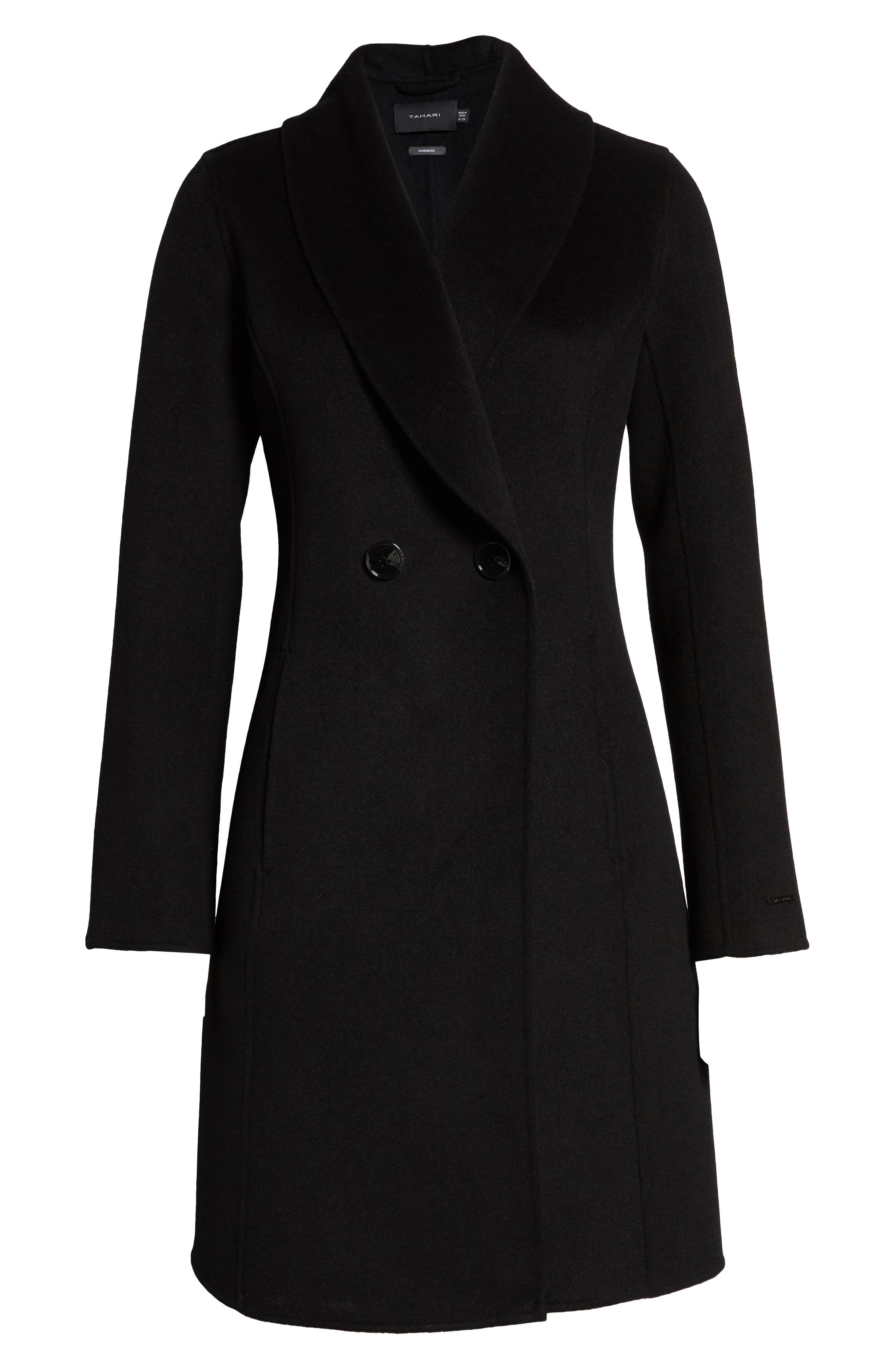 Caleigh Fitted Wool Blend Coat,                             Alternate thumbnail 6, color,                             BLACK