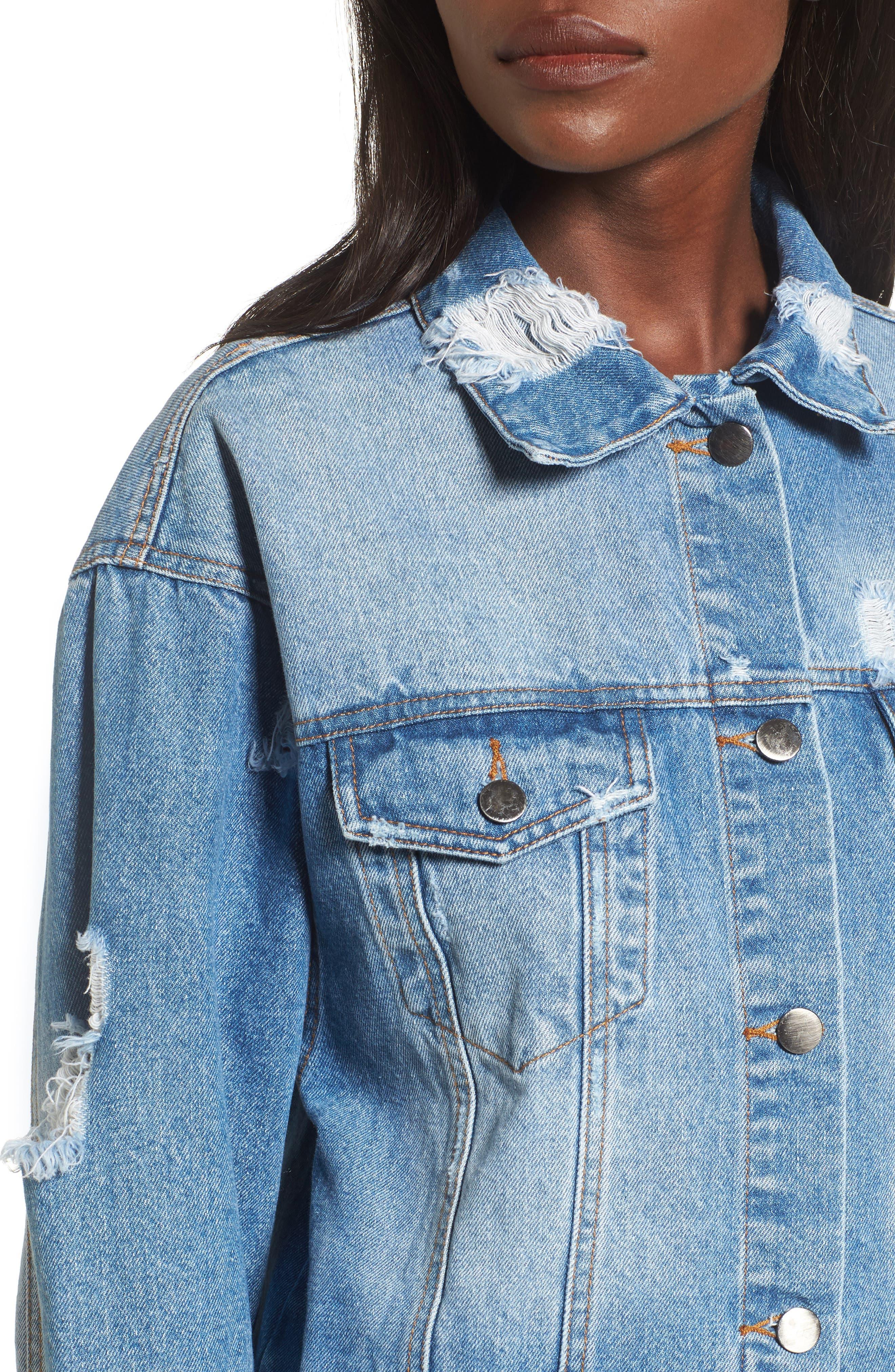 Decon Longline Denim Jacket,                             Alternate thumbnail 4, color,                             450