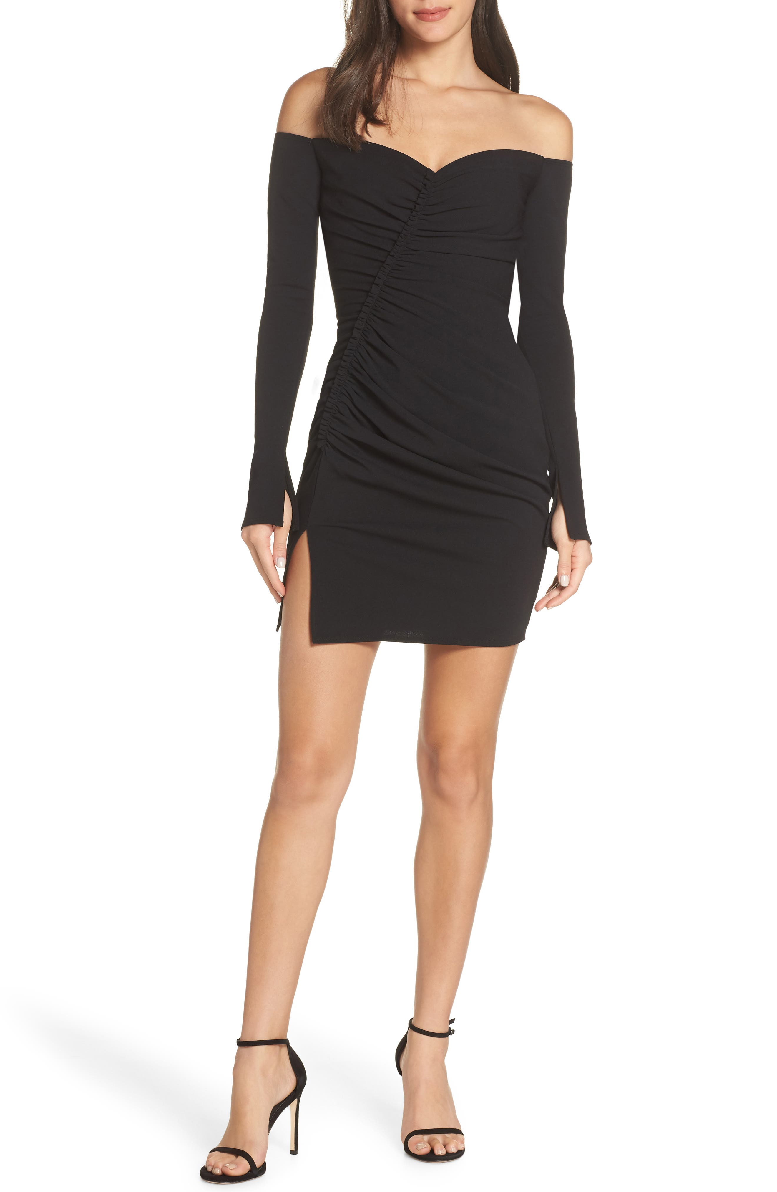 Off the Shoulder Ruched Cocktail Sheath,                             Main thumbnail 1, color,                             BLACK