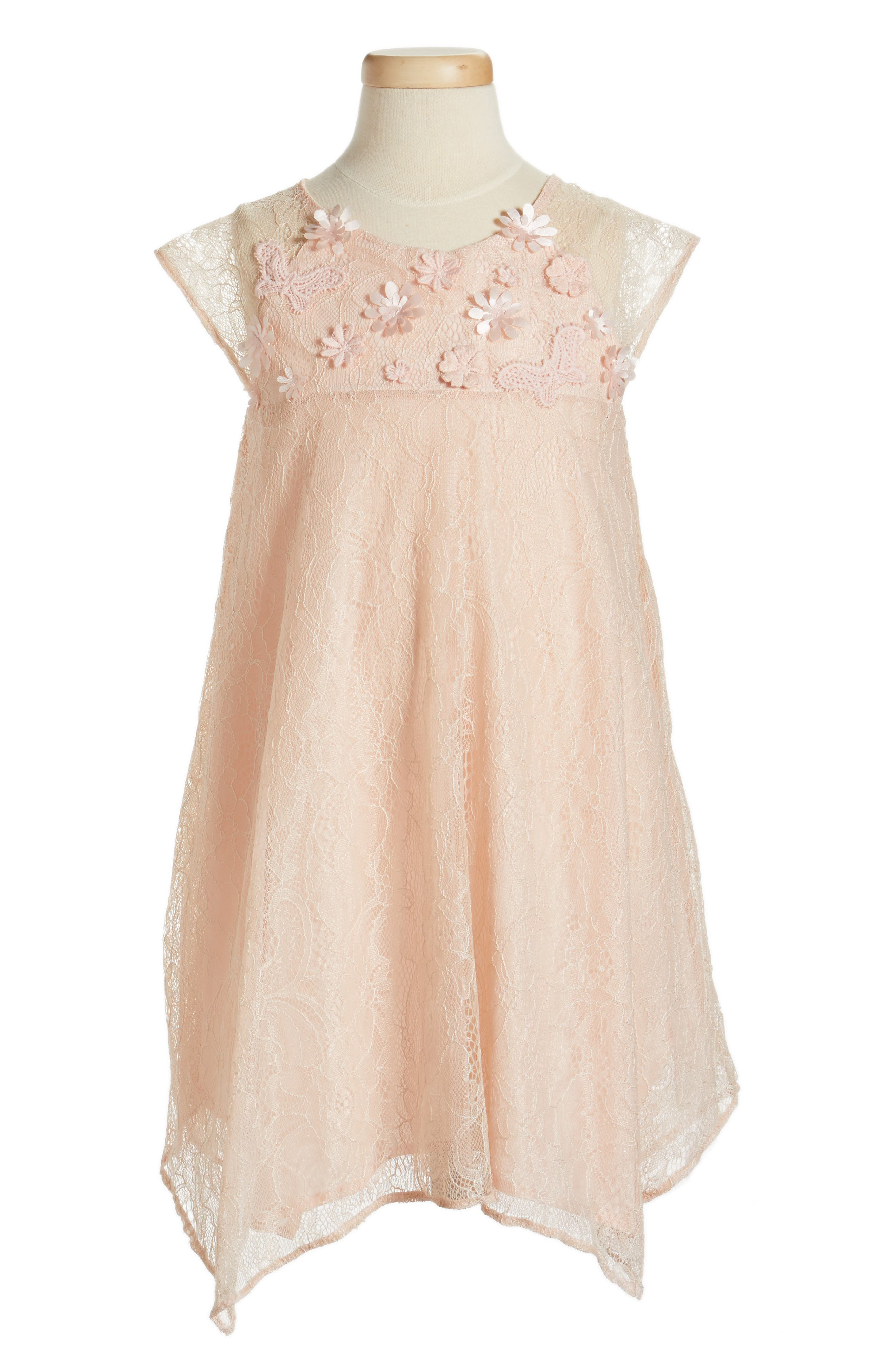 Lace Shift Dress,                             Main thumbnail 1, color,                             PEACH