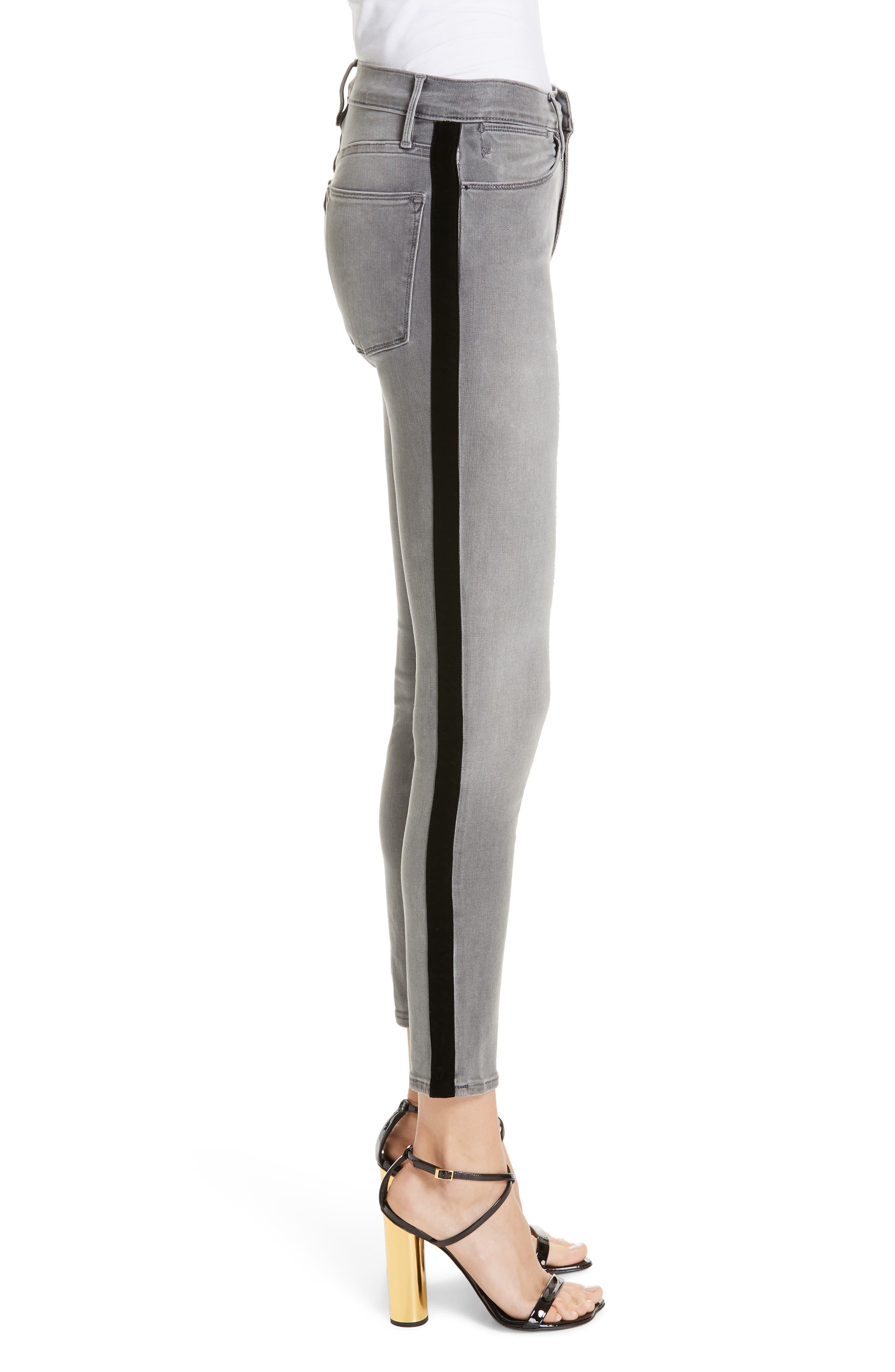 Le High Velvet Tuxedo Stripe Ankle Skinny Jeans,                             Alternate thumbnail 3, color,                             GRIMES