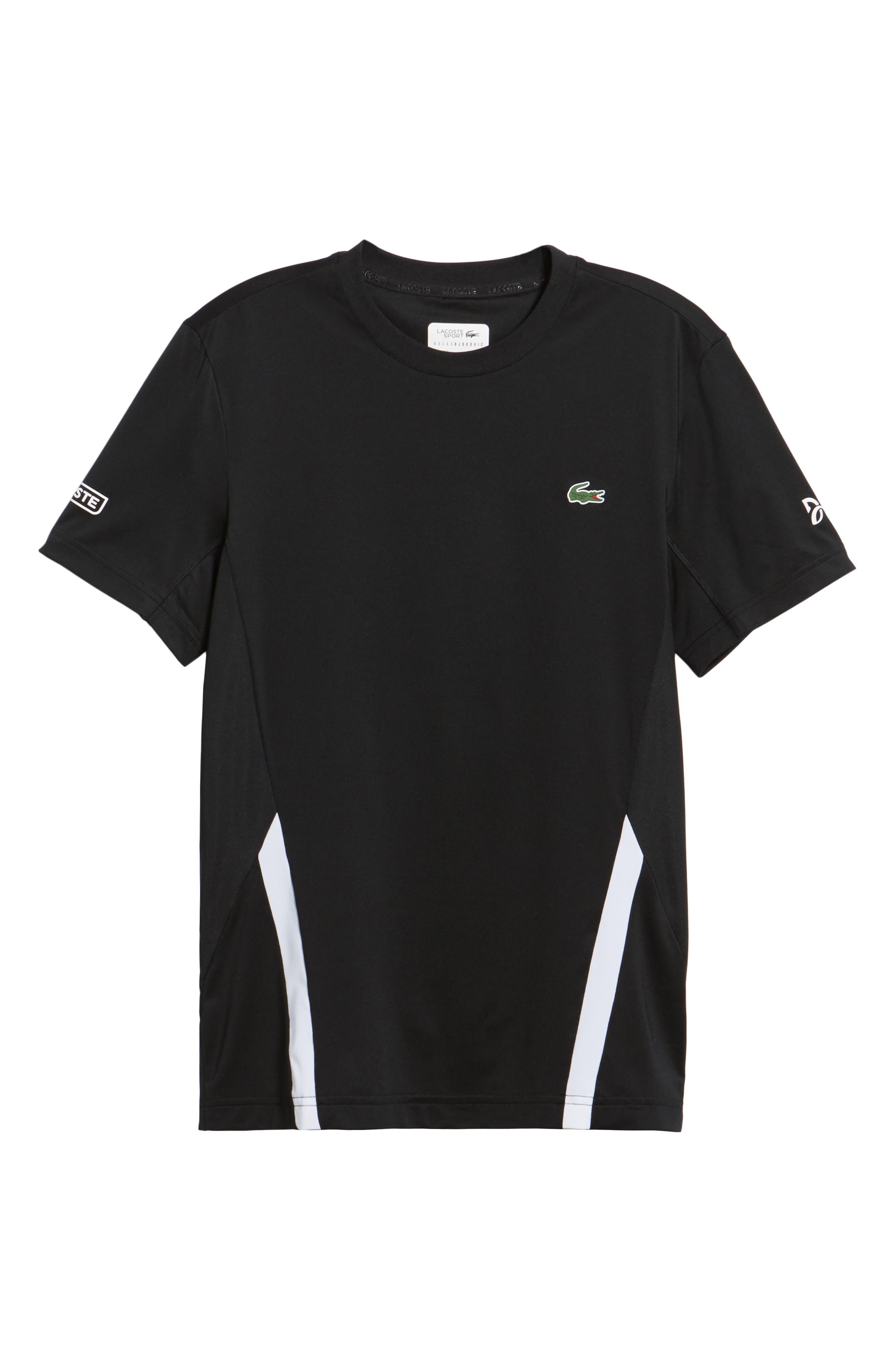 Regular Fit Novak Performance T-Shirt,                             Alternate thumbnail 6, color,                             BLACK/ WHITE