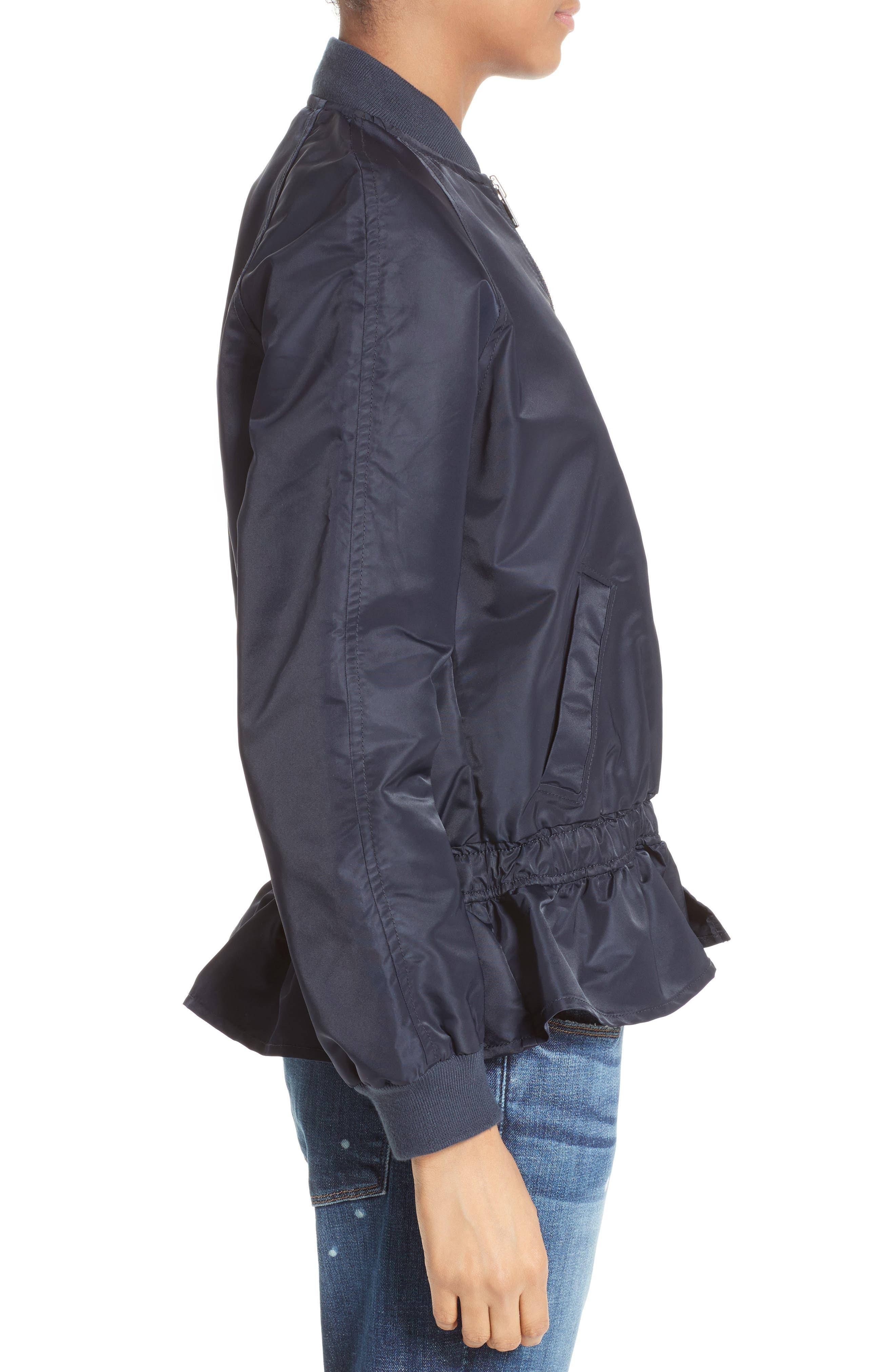 Ruffle Bomber Jacket,                             Alternate thumbnail 3, color,                             410