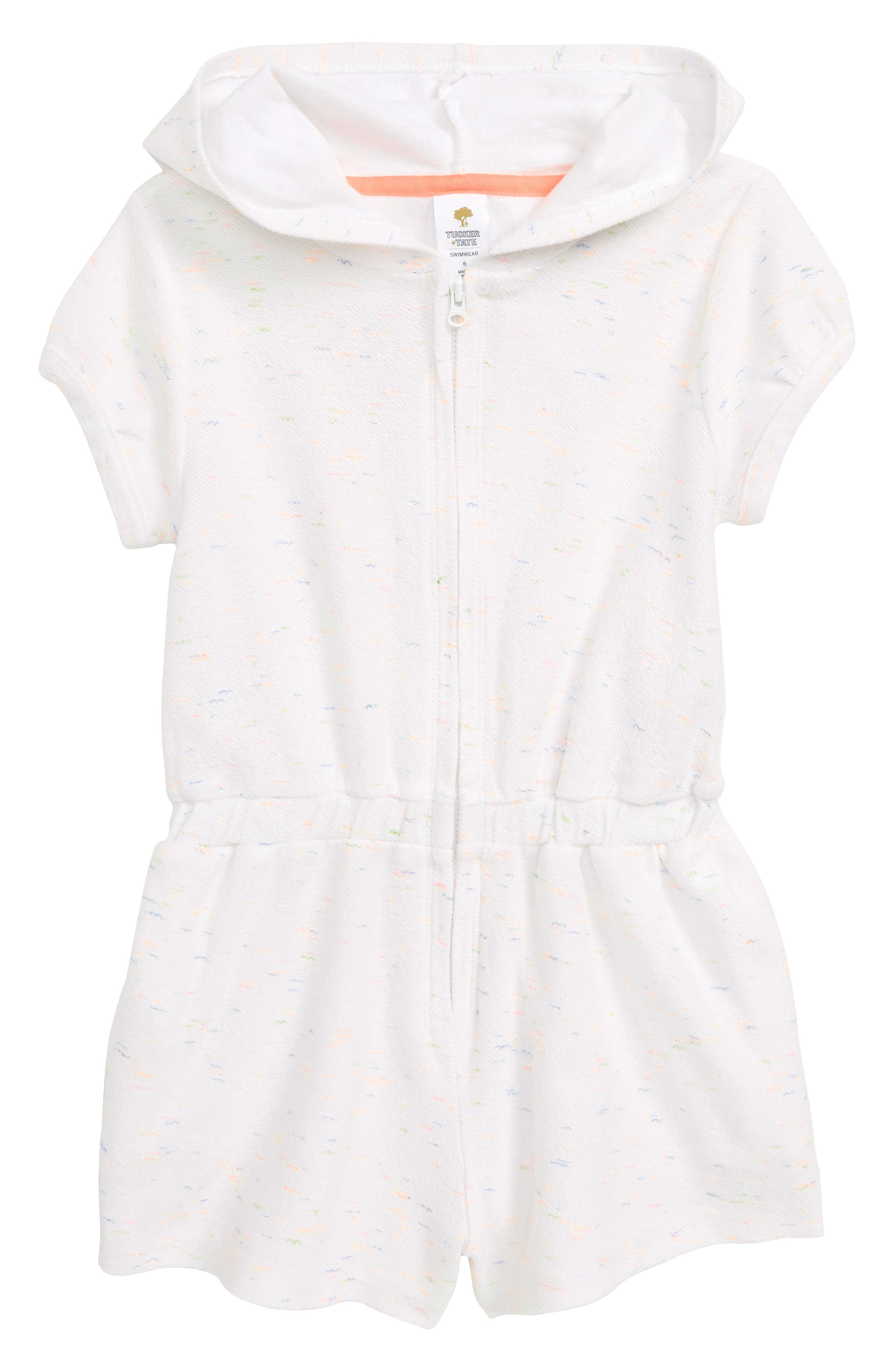 TUCKER + TATE Terry Cover-Up Romper, Main, color, WHITE