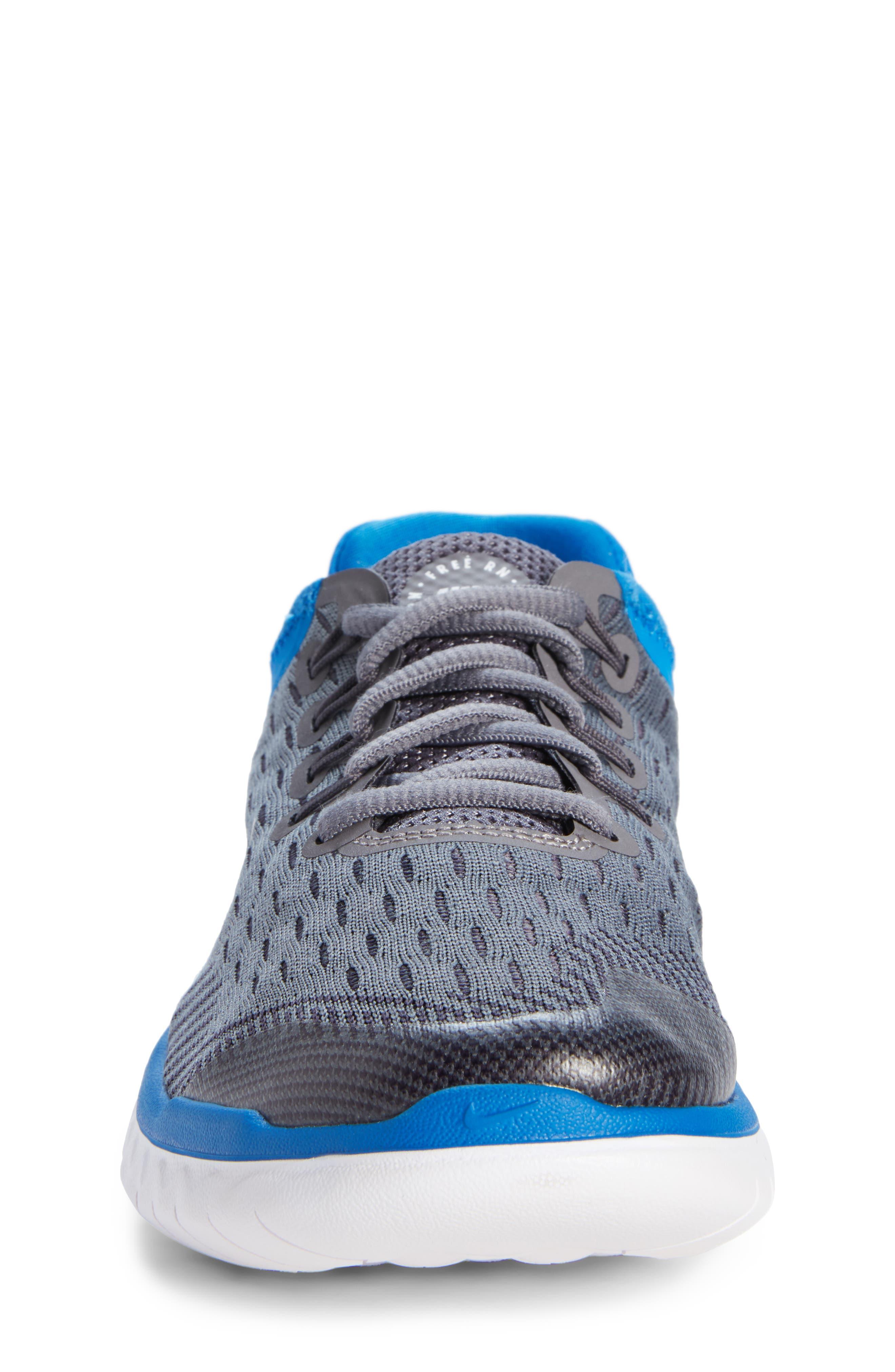 Free RN 2018 Running Shoe,                             Alternate thumbnail 4, color,                             GREY/WHITE/BLUE
