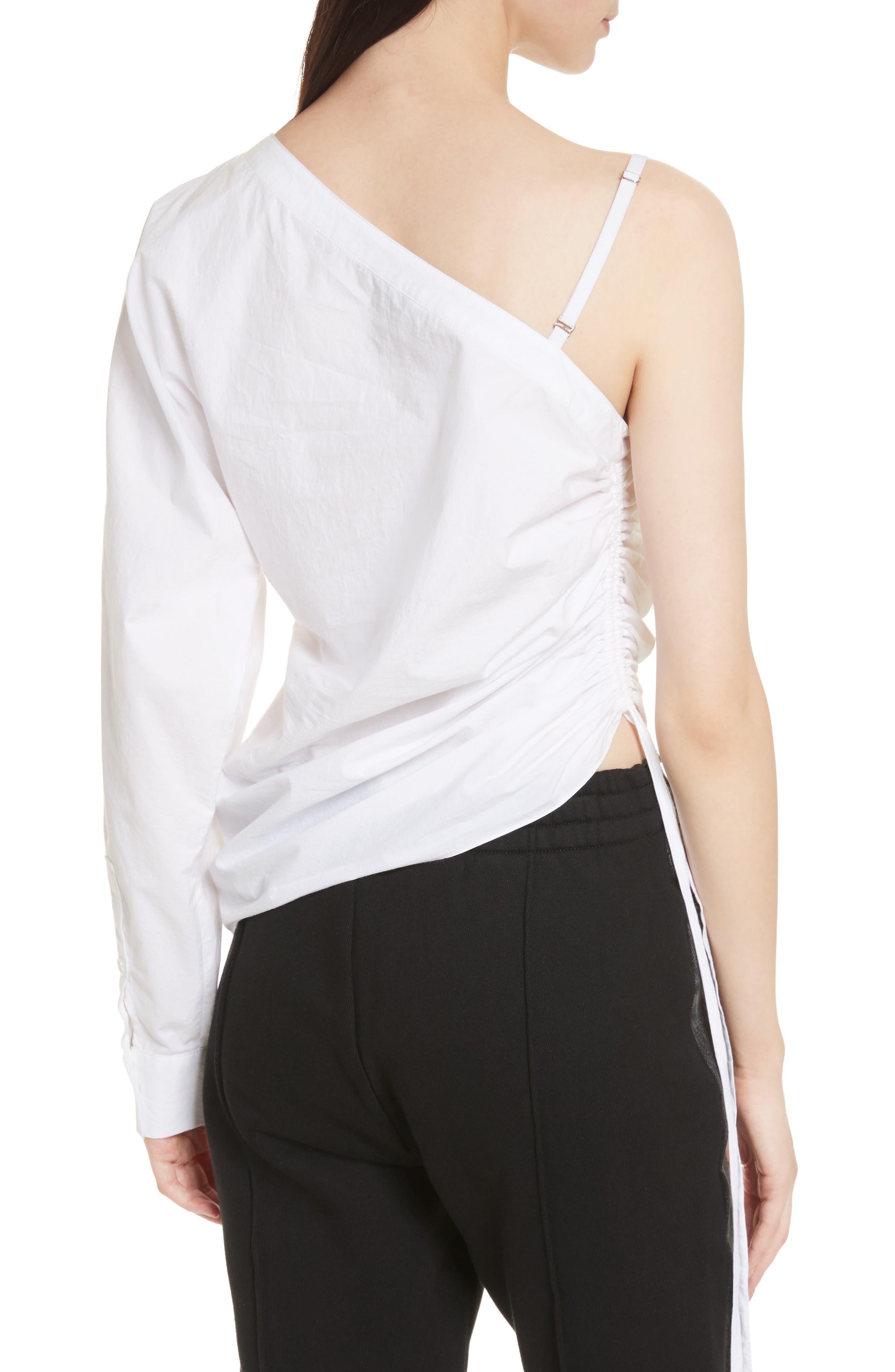 Cotton Poplin One-Shoulder Top,                             Alternate thumbnail 2, color,                             100