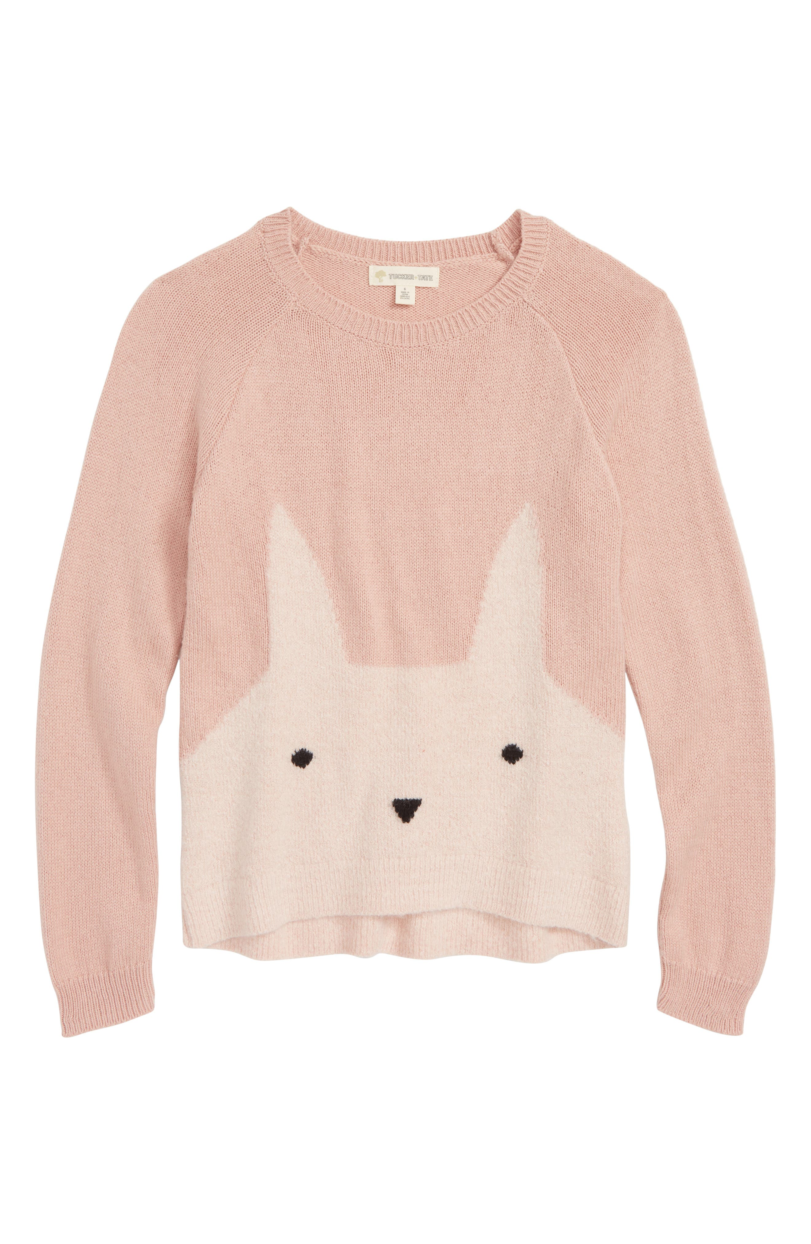 Icon Sweater,                             Main thumbnail 1, color,                             PINK PEACHSKIN BUNNY