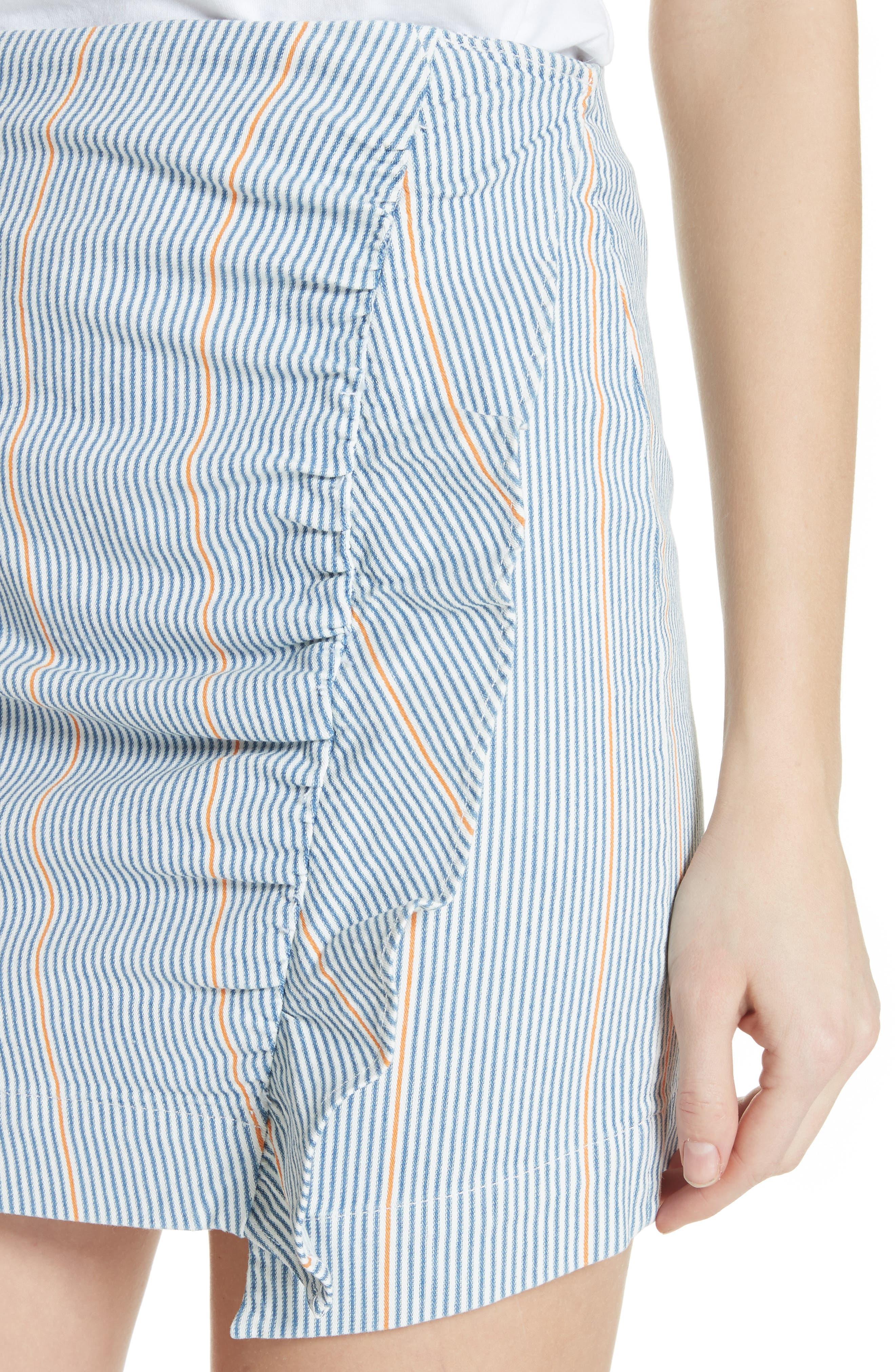 Jane Stripe Ruffle Detail Skirt,                             Alternate thumbnail 4, color,                             NILLIE SKIRT