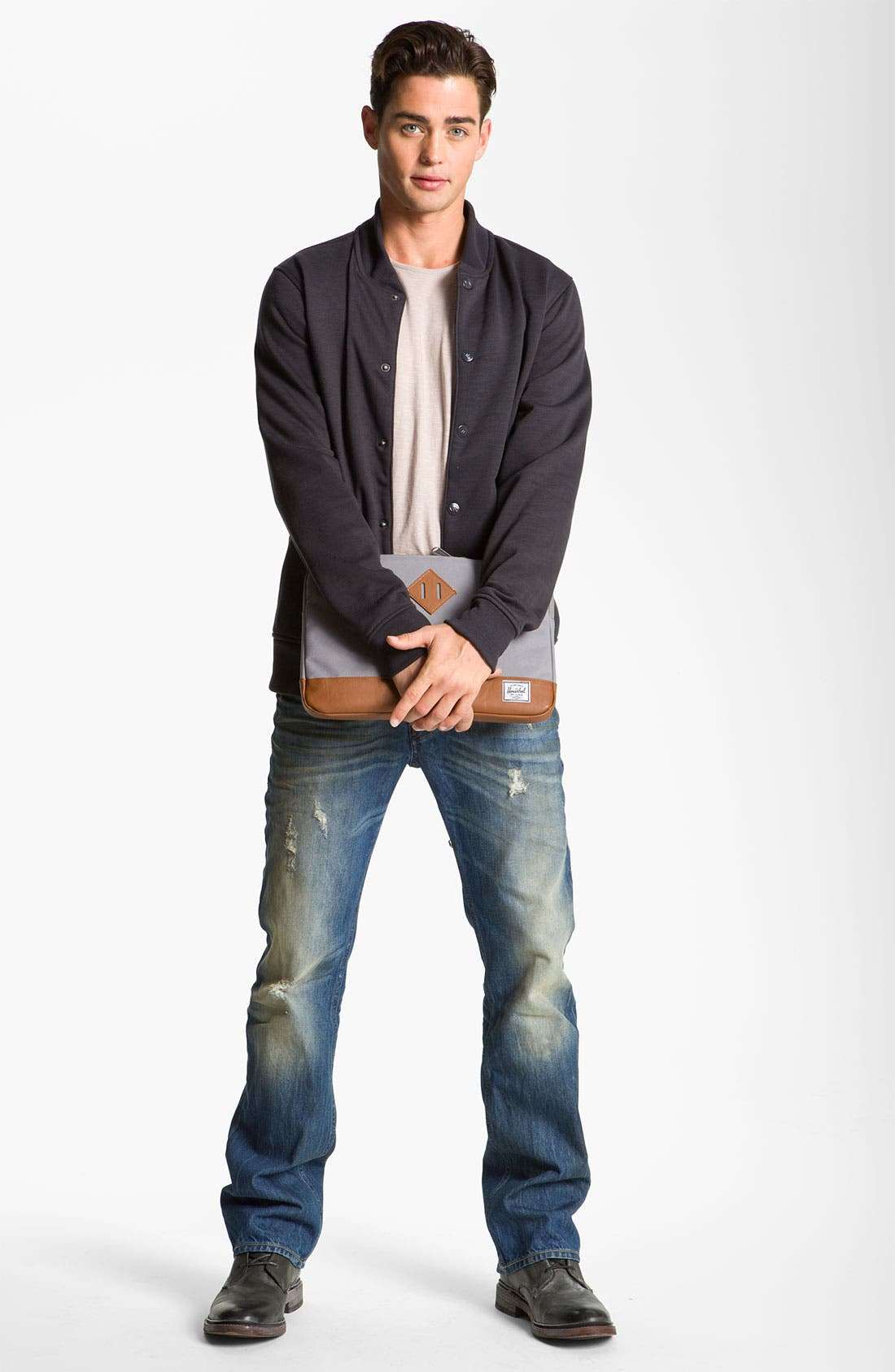 'New Fanker' Slim Bootcut Jeans,                             Alternate thumbnail 4, color,                             400