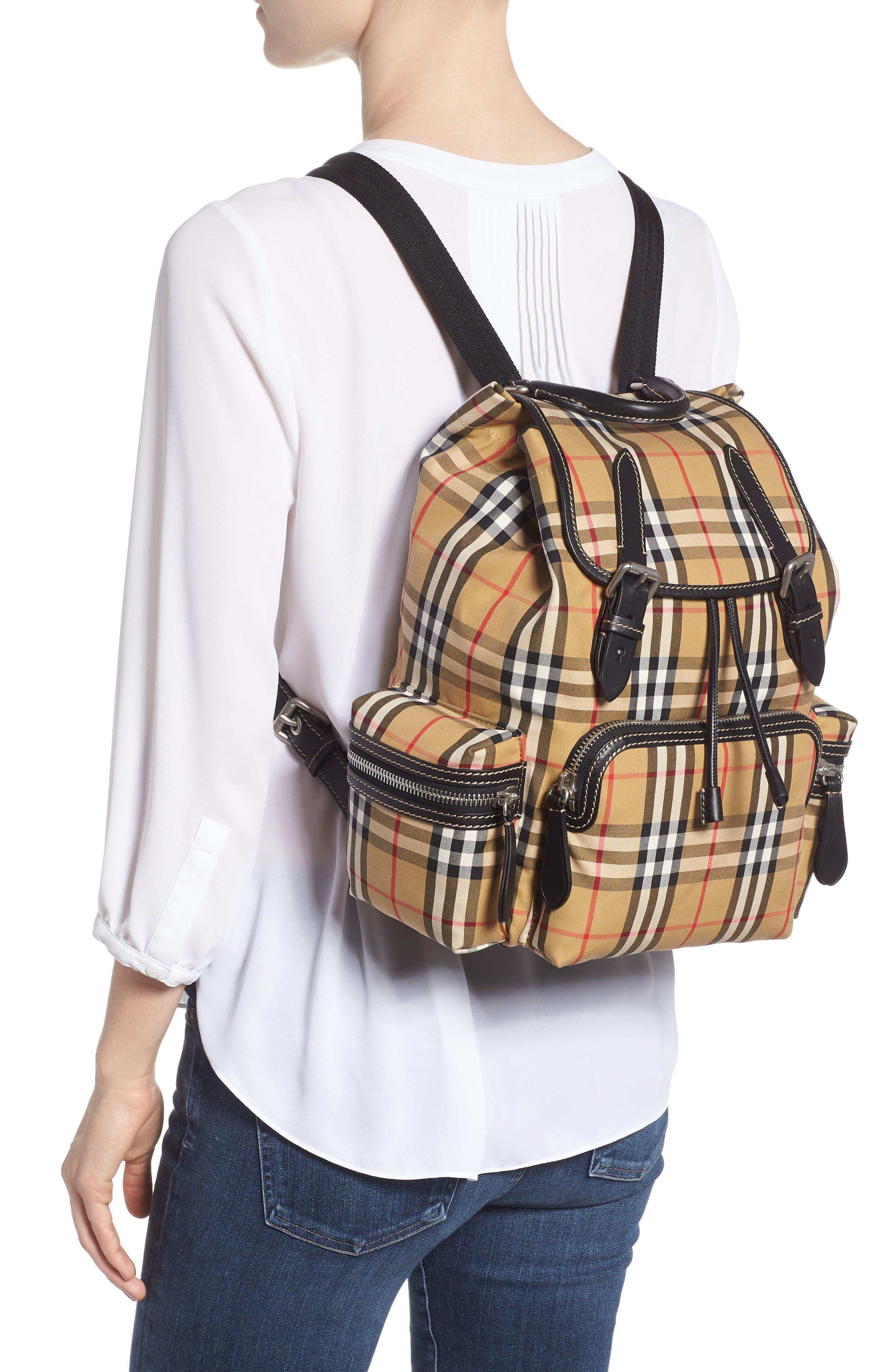 Medium Rucksack Check Cotton Backpack,                             Alternate thumbnail 2, color,                             ANTIQUE YELLOW