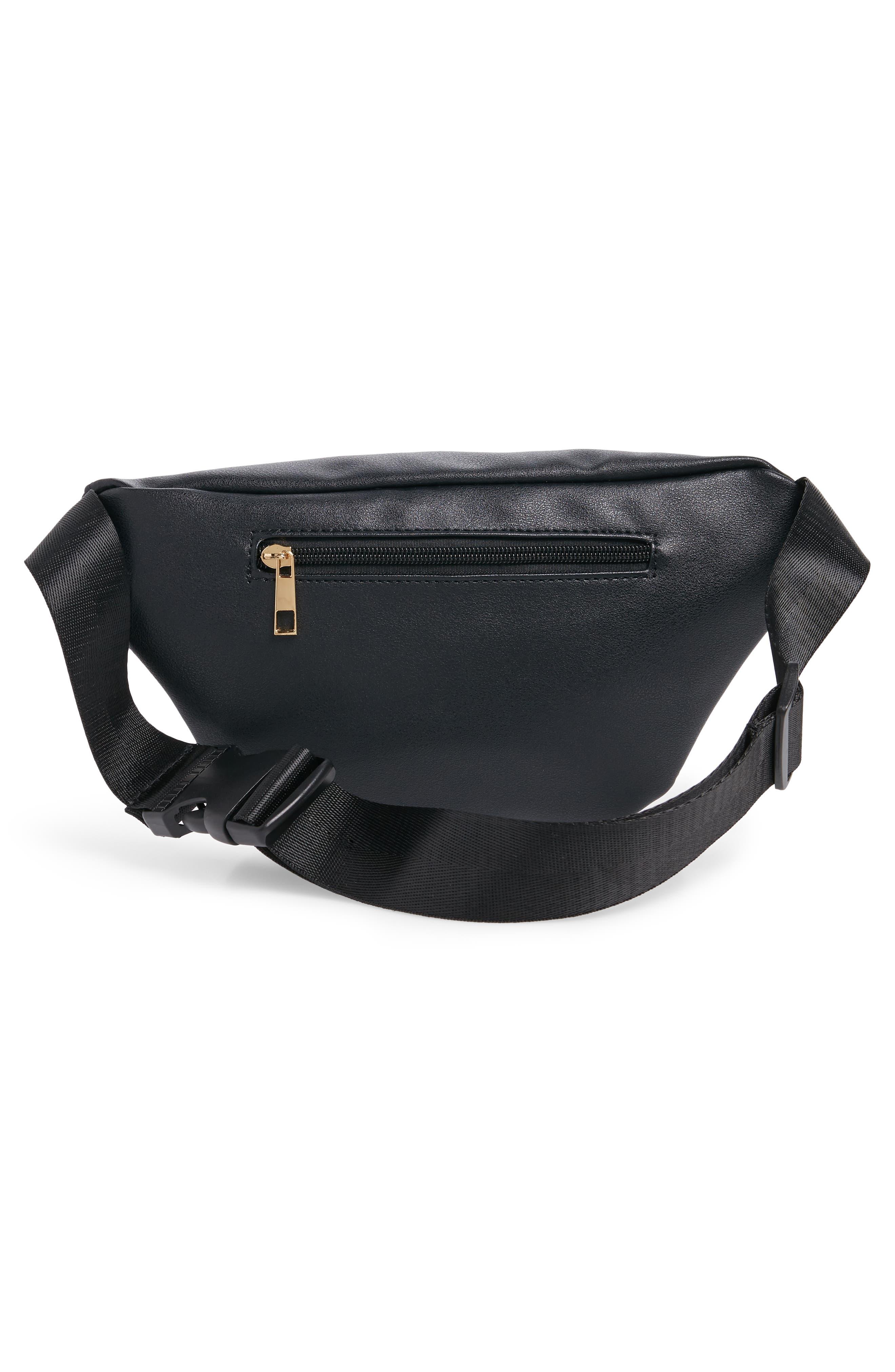 Geometric Detail Faux Leather Belt Bag,                             Alternate thumbnail 4, color,                             BLACK