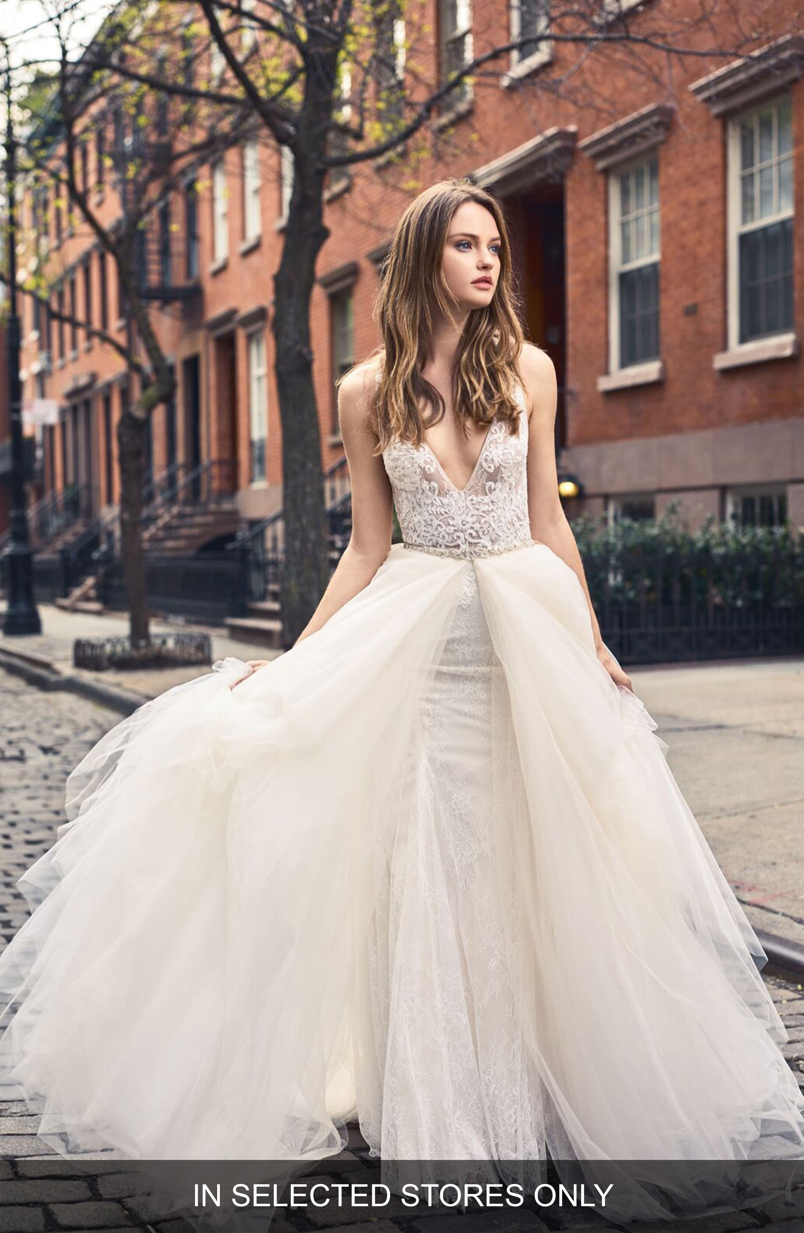 Sleeveless Lace Trumpet Gown,                             Main thumbnail 1, color,                             SILK WHITE/BLUSH