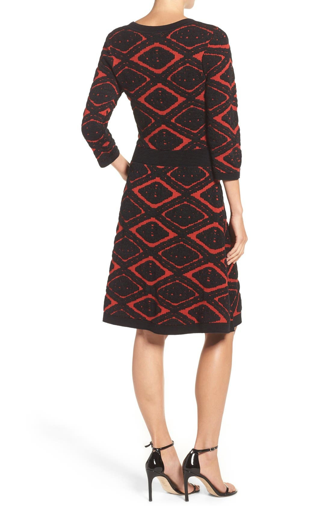 Sweater Fit & Flare Dress,                             Alternate thumbnail 2, color,                             006