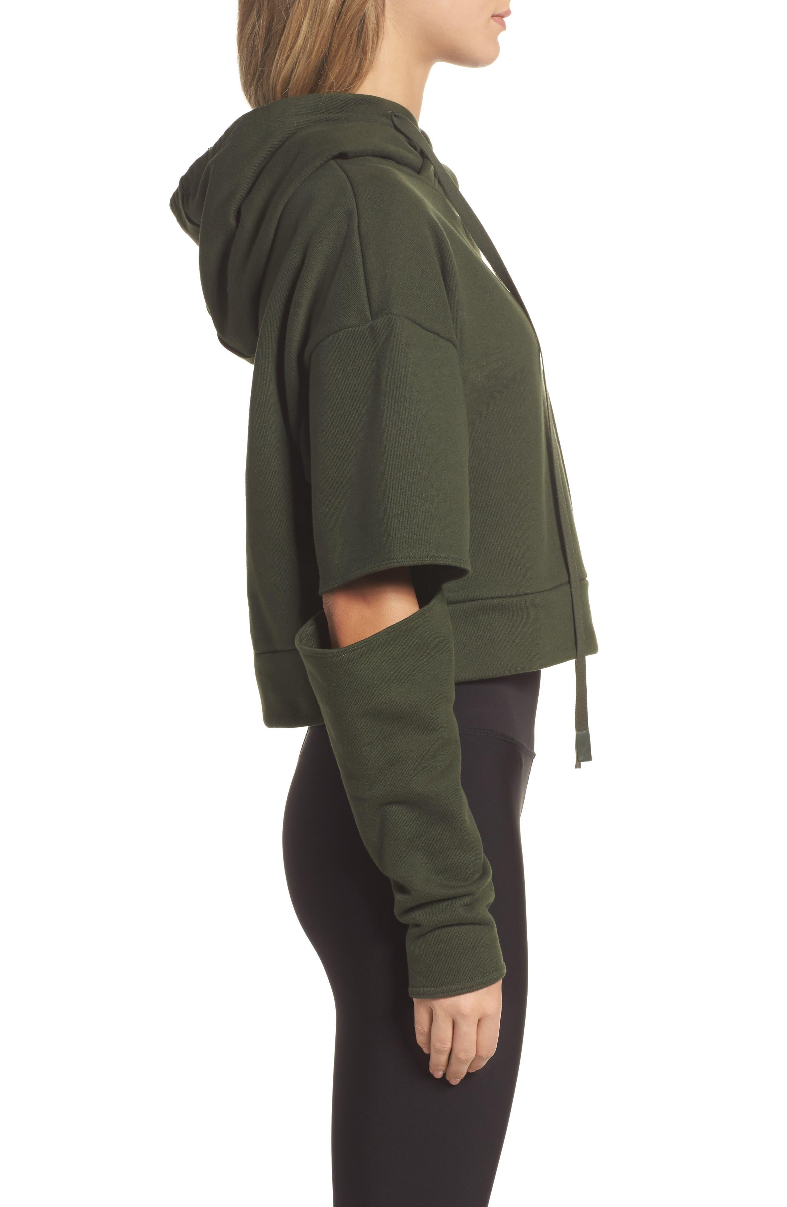 Peak Cutout Long Sleeve Pullover Crop Hoodie,                             Alternate thumbnail 10, color,