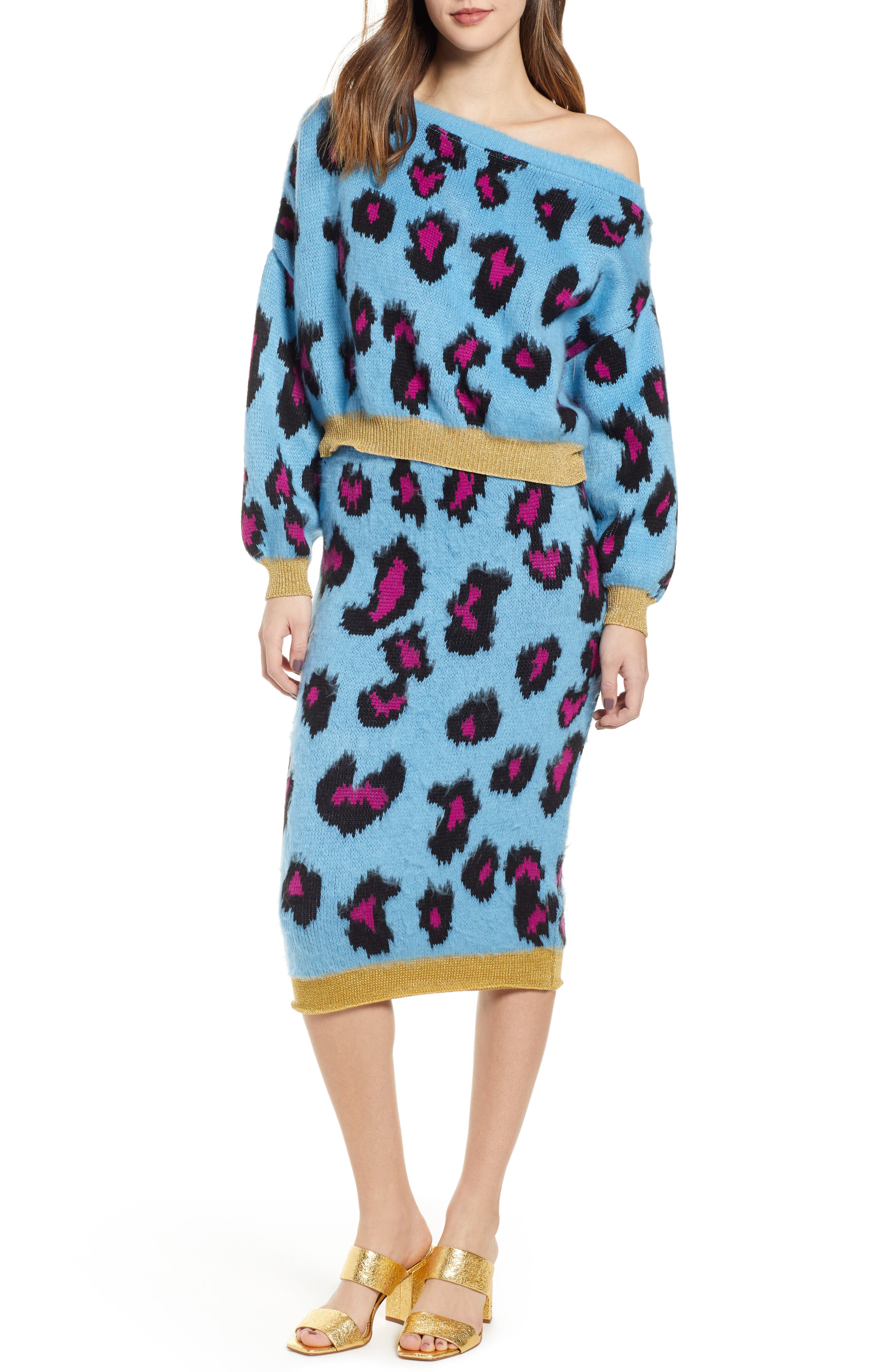 Leopard Sweater,                             Alternate thumbnail 7, color,                             BLUE MULTI