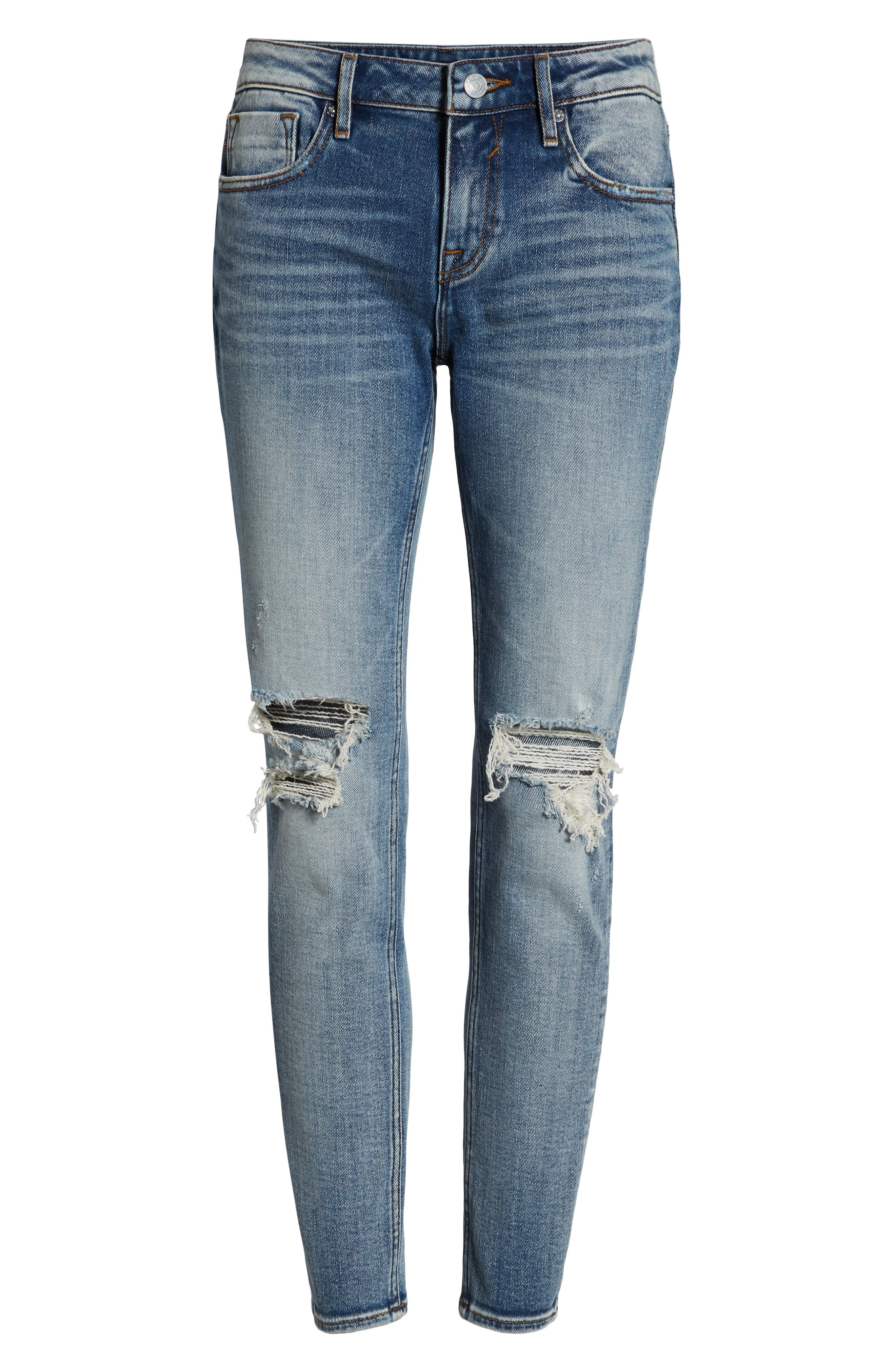 Jagger Ripped Skinny Jeans,                             Alternate thumbnail 7, color,                             LIGHT WASH