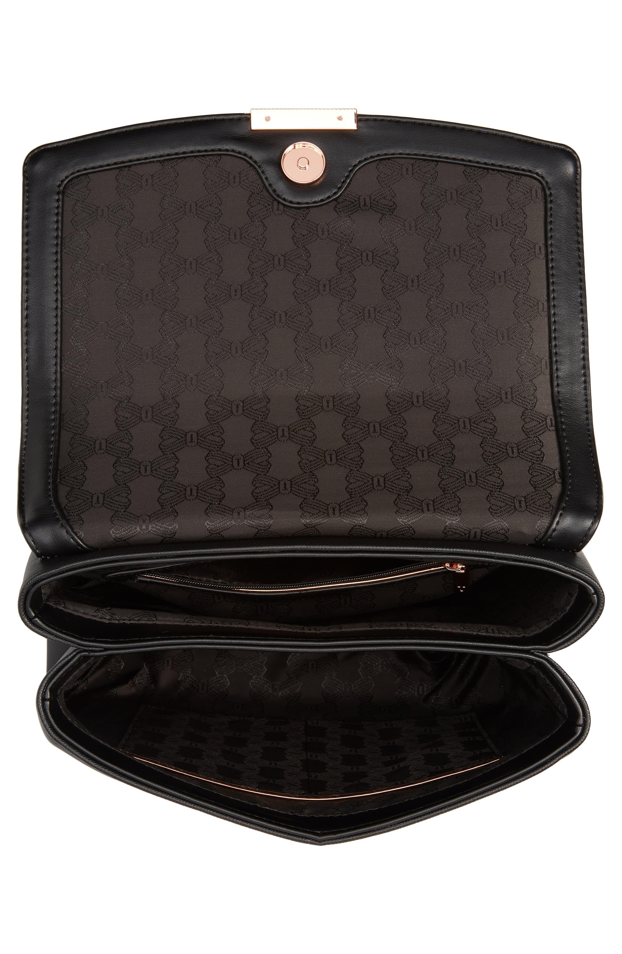 Keiira Lady Bag Faux Leather Top Handle Satchel,                             Alternate thumbnail 4, color,                             001