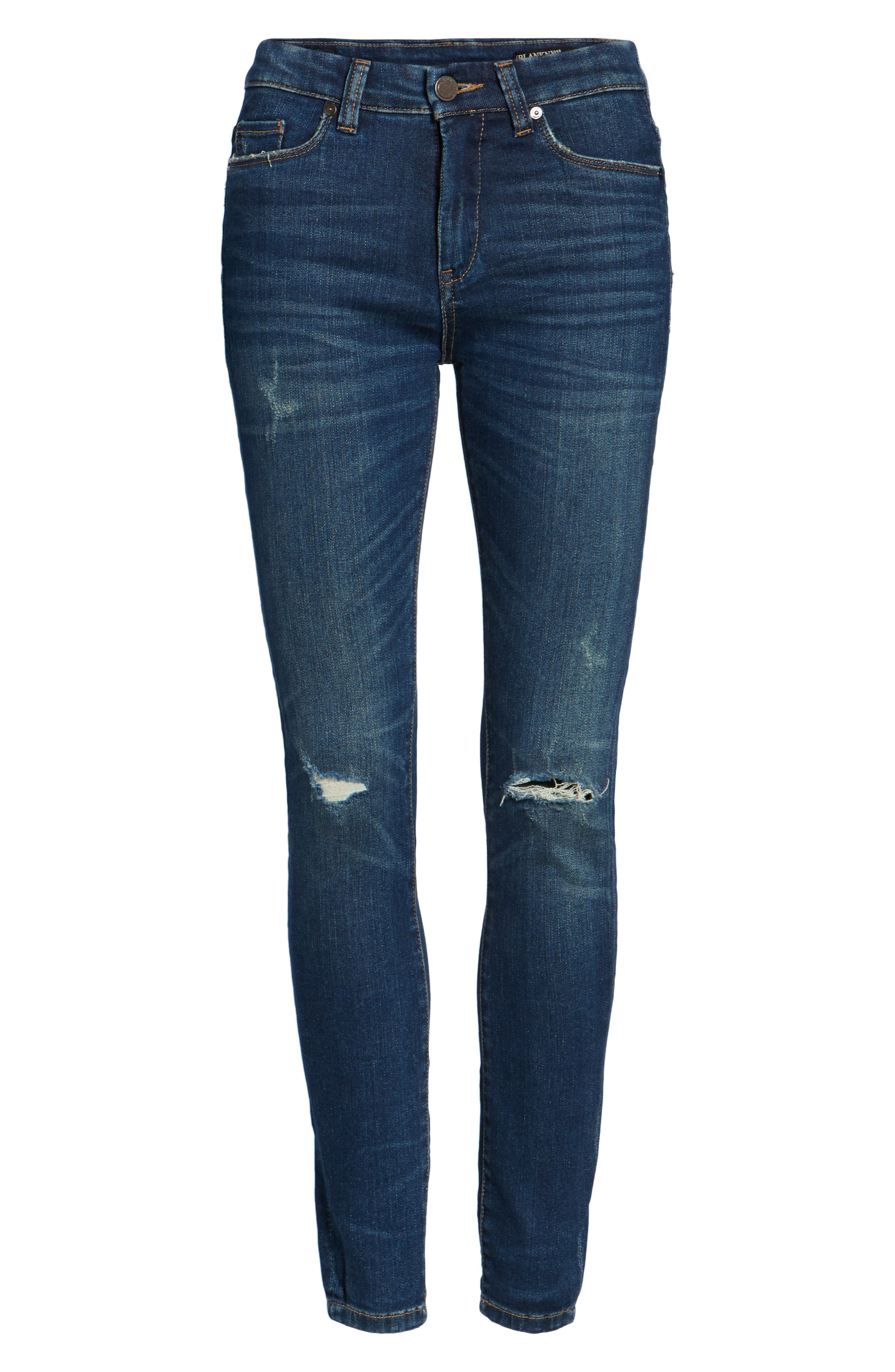 Ripped Mid Rise Skinny Ankle Jeans,                             Alternate thumbnail 7, color,                             420