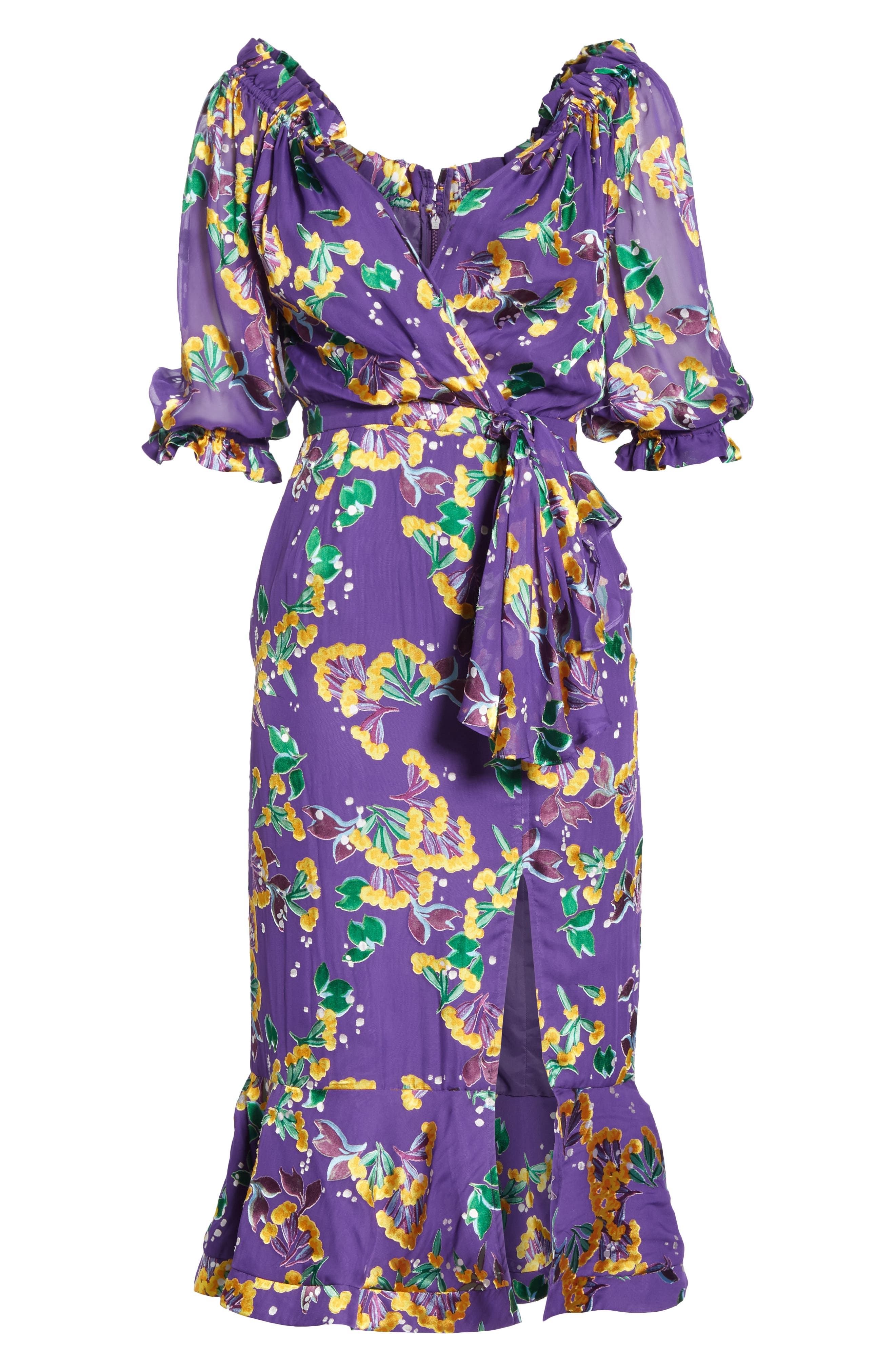 Olivia Silk Blend Midi Dress,                             Alternate thumbnail 6, color,                             VIOLET SWEETPEAS