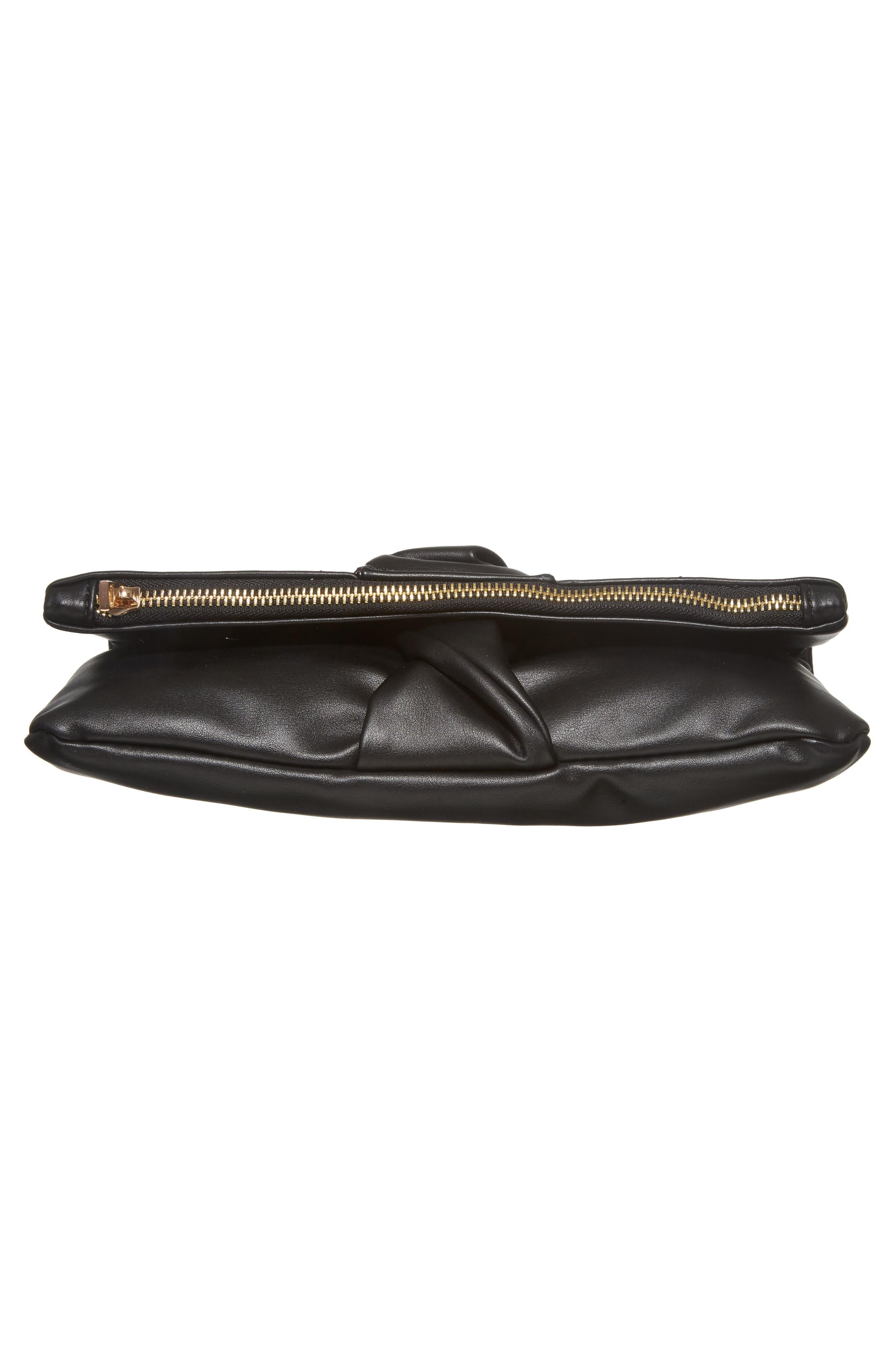 Lenore Foldover Faux Leather Clutch,                             Alternate thumbnail 6, color,                             001
