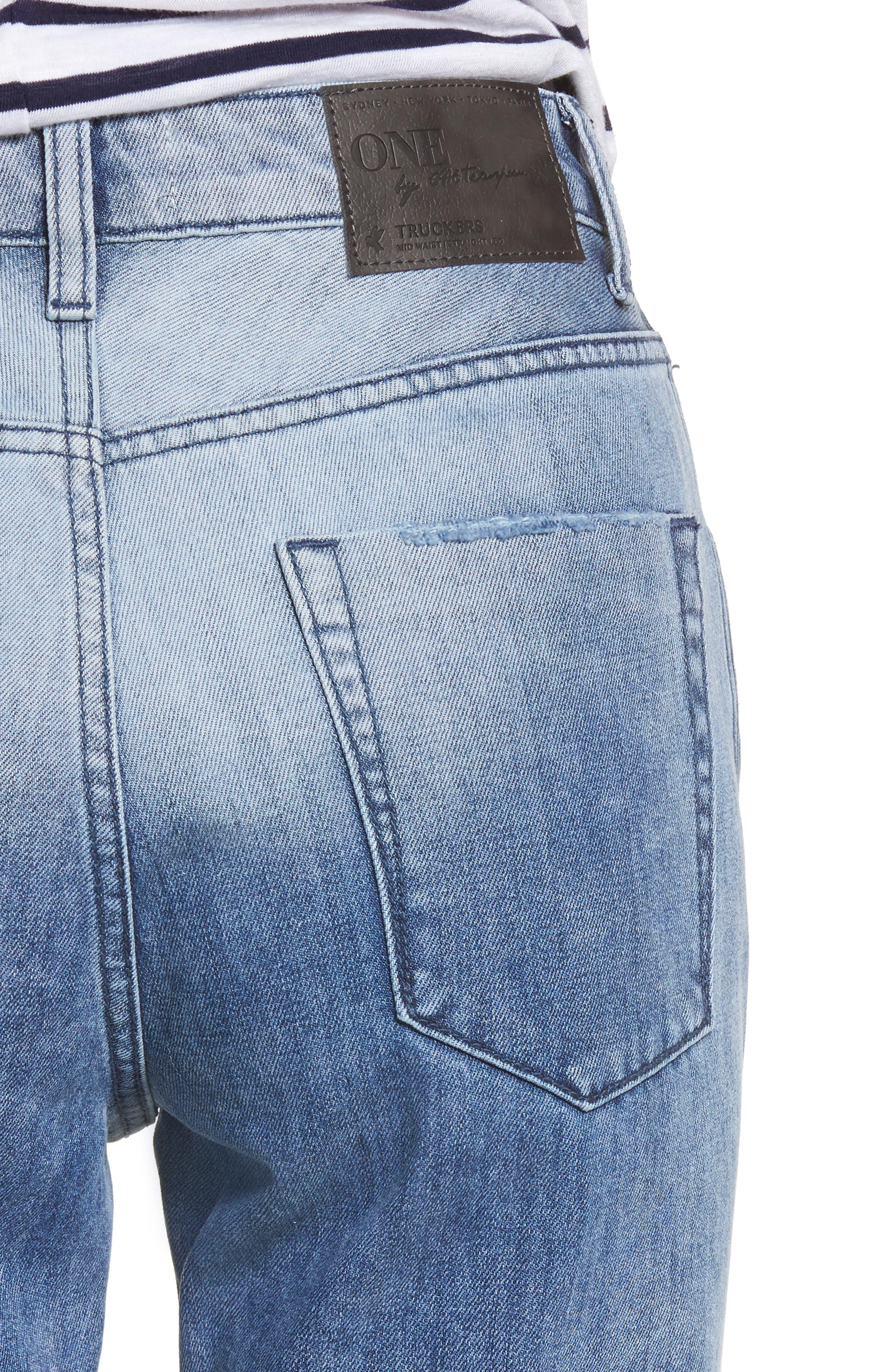 Tuckers High Waist Straight Leg Jeans,                             Alternate thumbnail 4, color,                             456