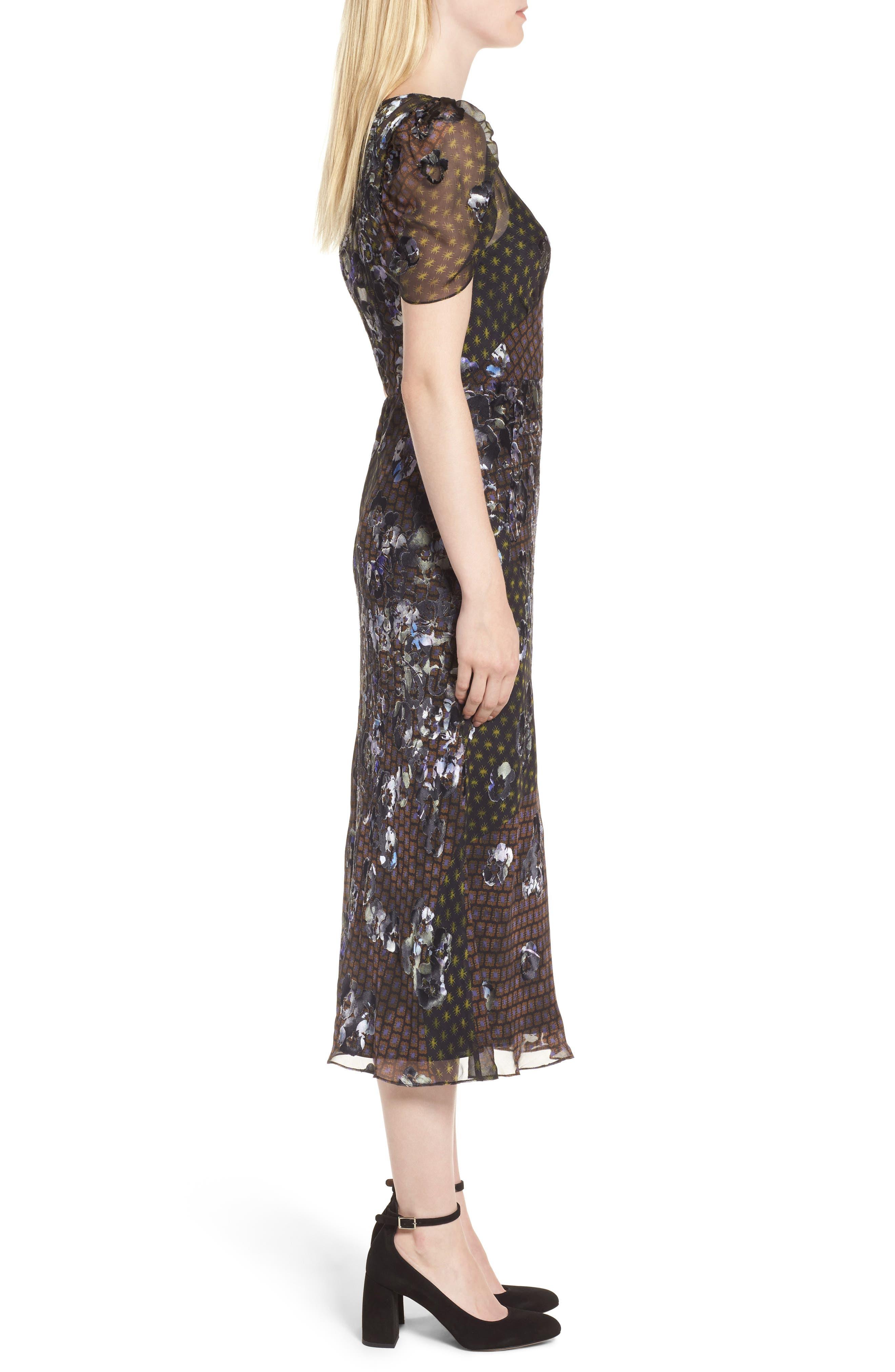 Puff Sleeve Devore Jacquard Midi Dress,                             Alternate thumbnail 3, color,                             001