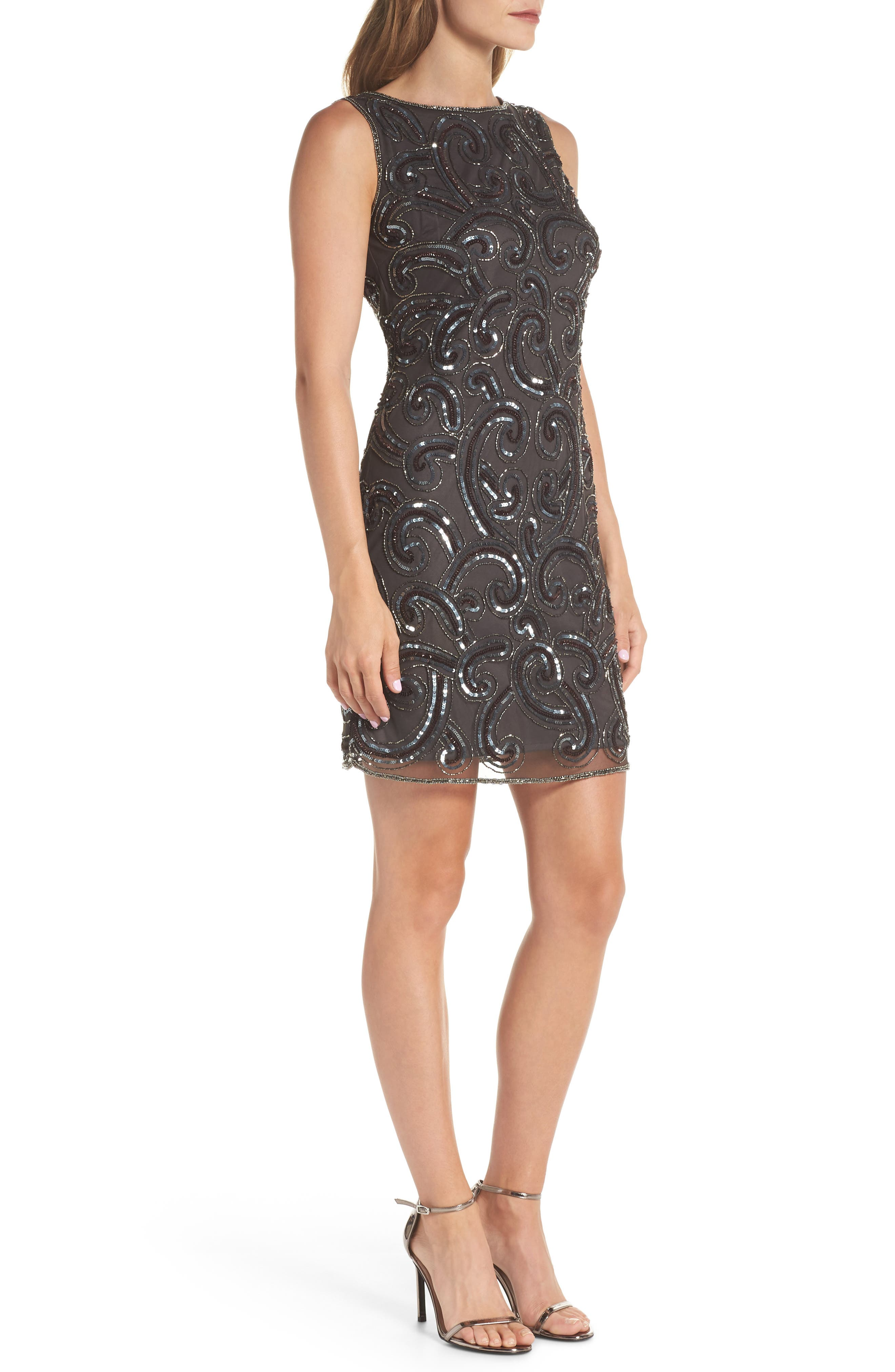 Embellished Sheath Dress,                             Alternate thumbnail 3, color,                             021