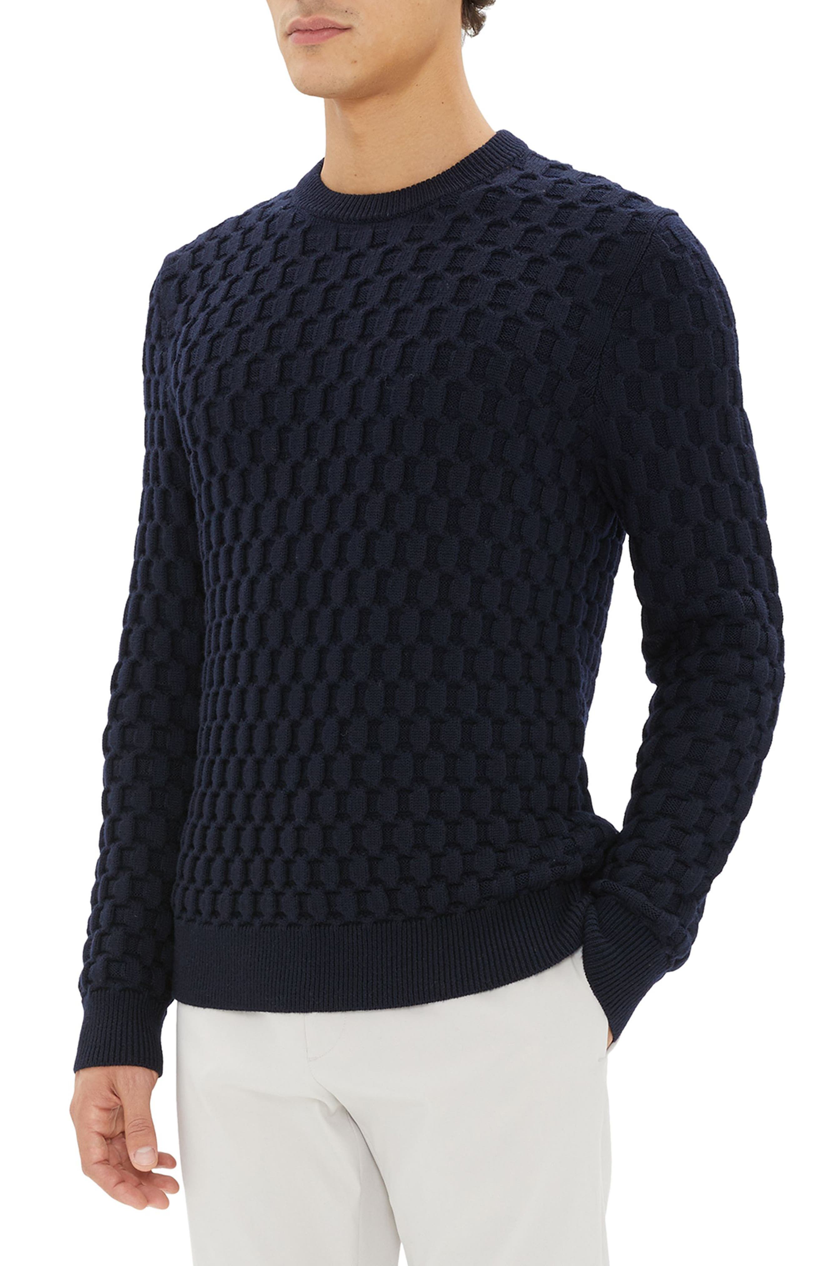 Marcos Honeycomb Merino Wool Sweater,                             Alternate thumbnail 2, color,                             ECLIPSE