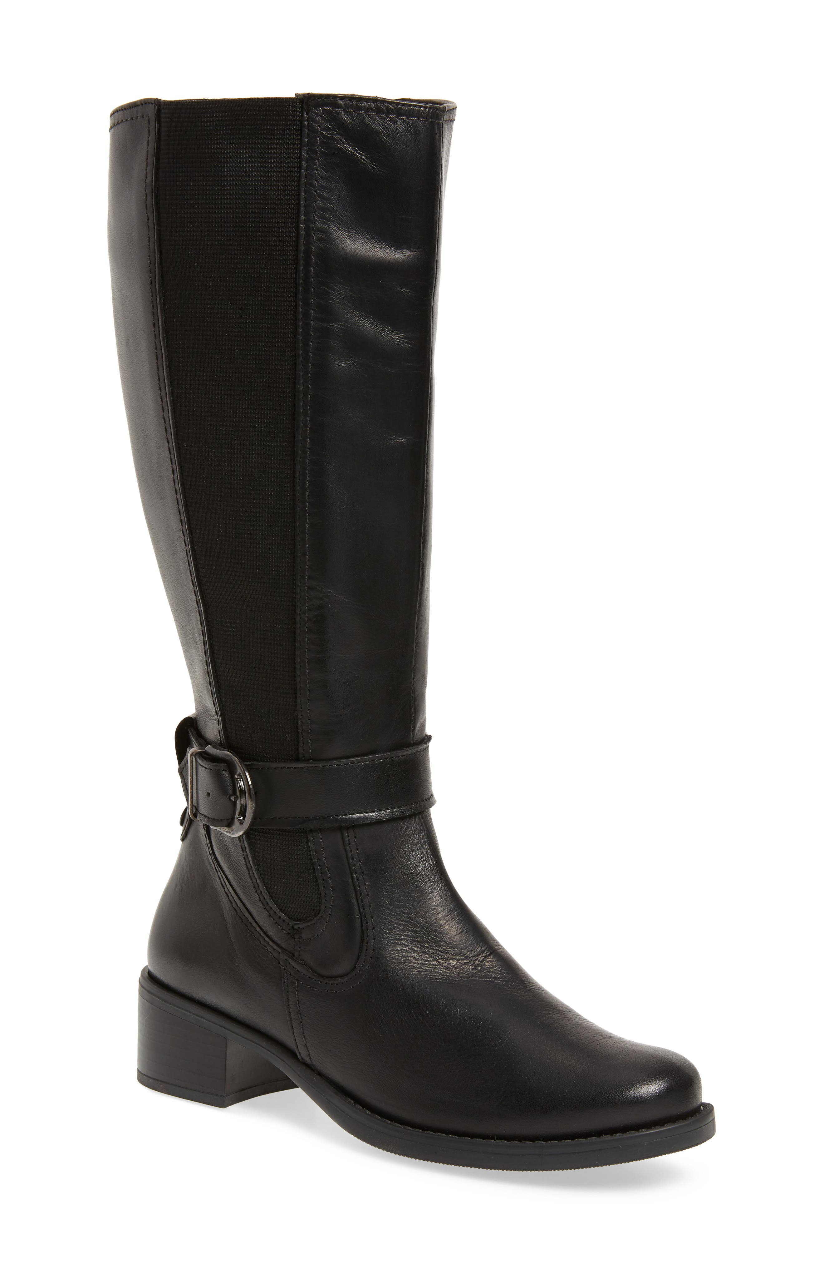 Amalfi 16 Boot,                         Main,                         color, BLACK LEATHER