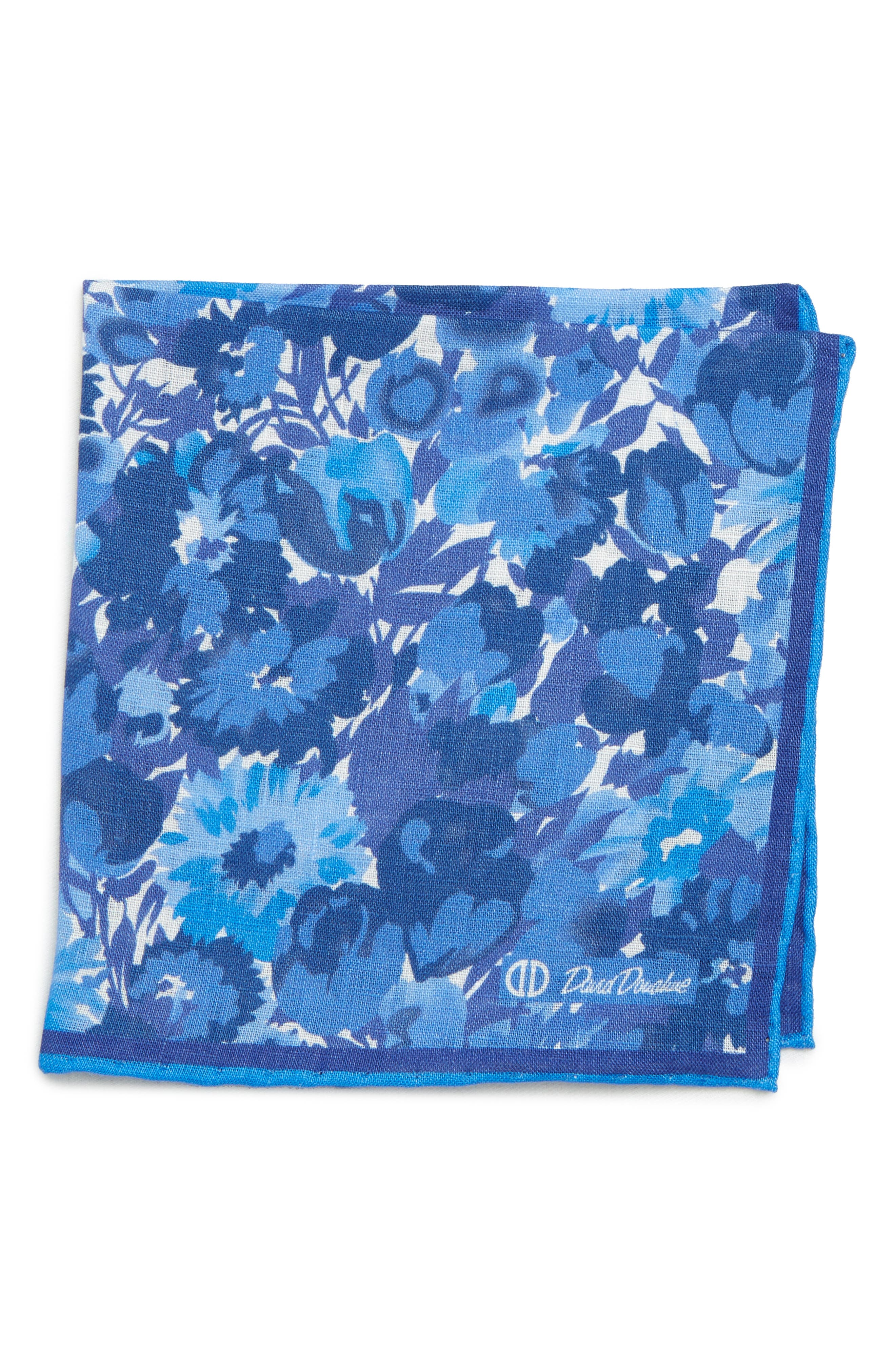 Floral Linen Pocket Square,                         Main,                         color, BLUE