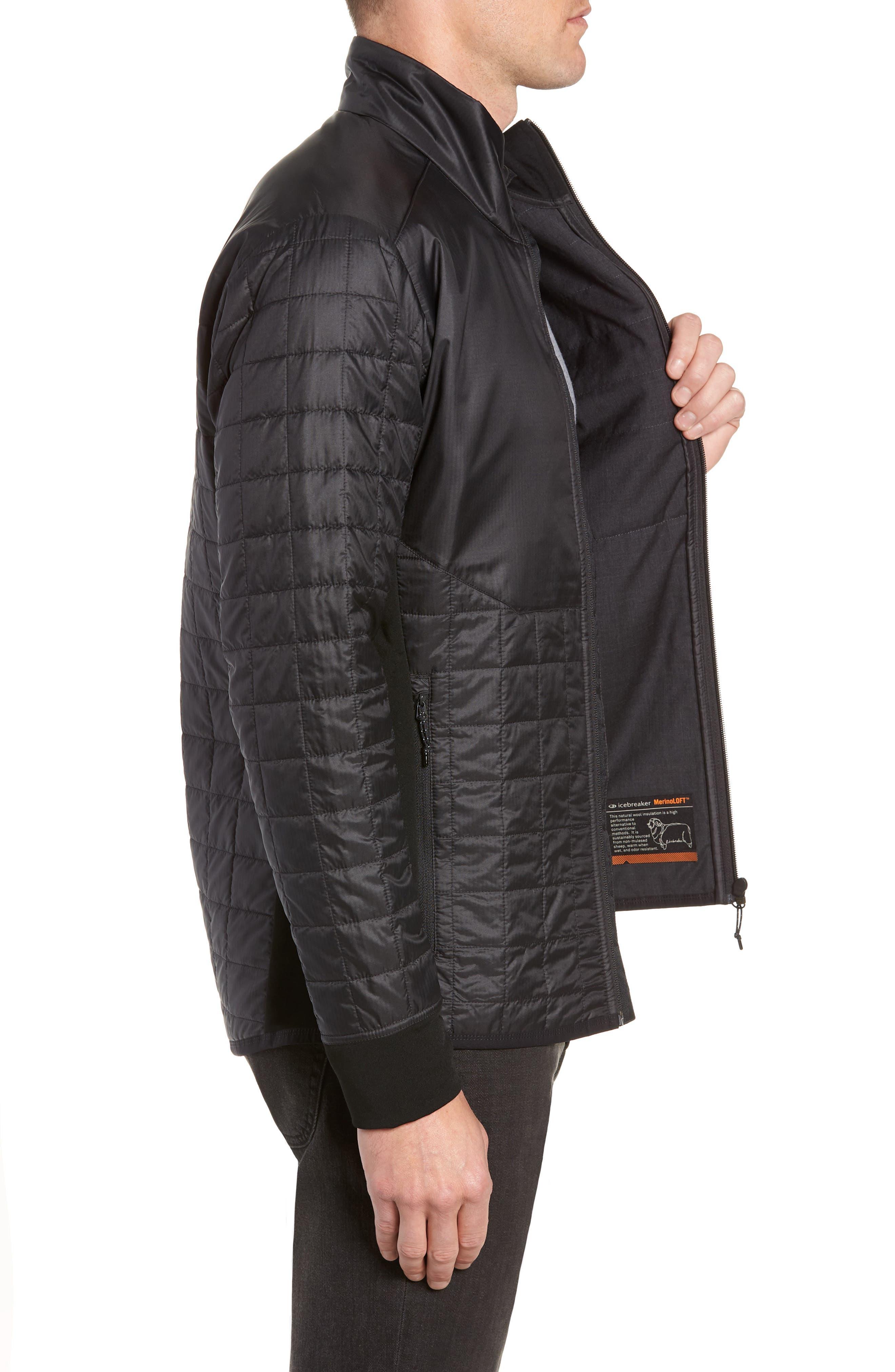 MerinoLOFT<sup>™</sup> Helix Midlayer Zip Jacket,                             Alternate thumbnail 3, color,                             BLACK/ JET HEATHER